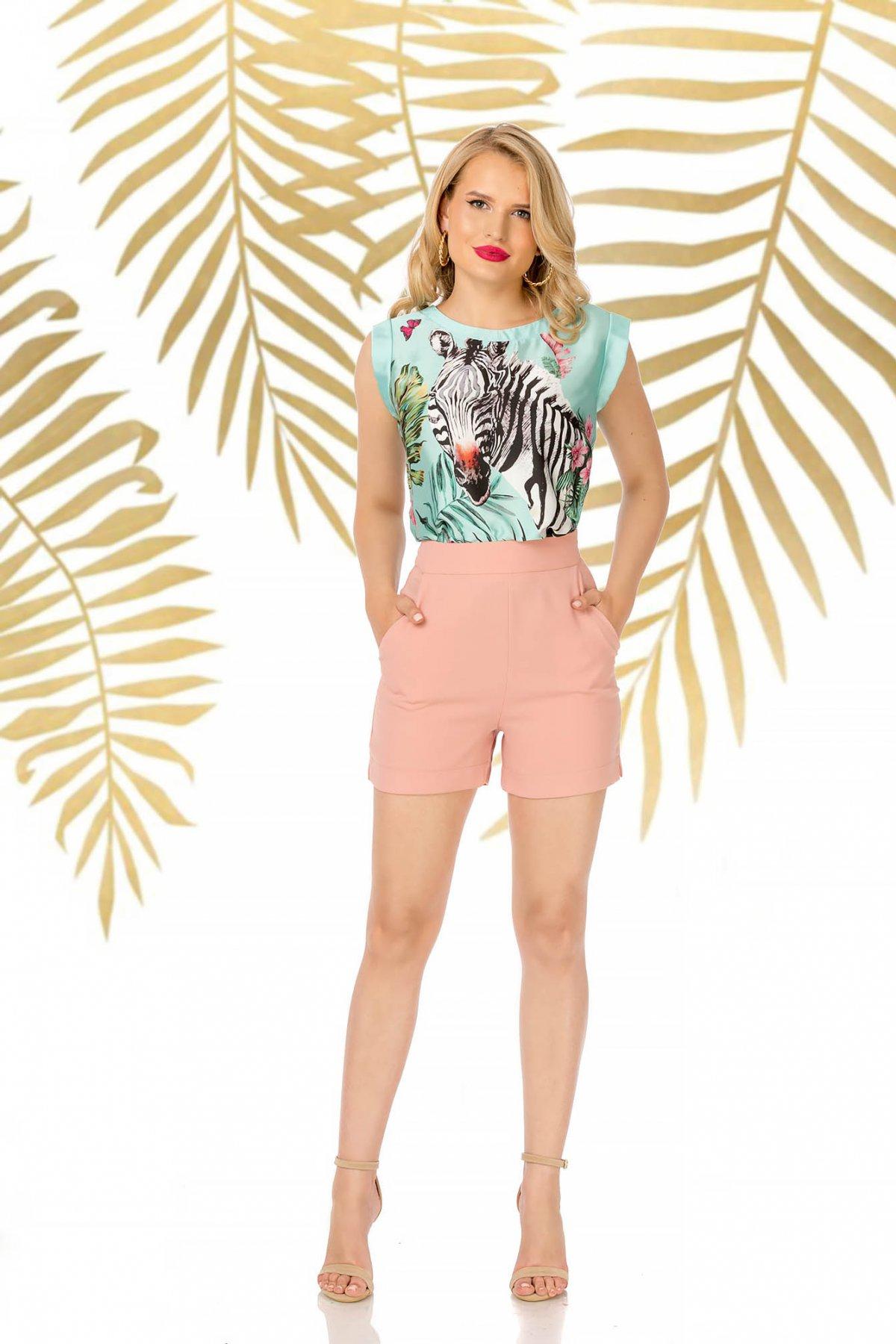 Pantalon scurt PrettyGirl roz prafuit elegant cu talie inalta cu un croi mulat cu buzunare