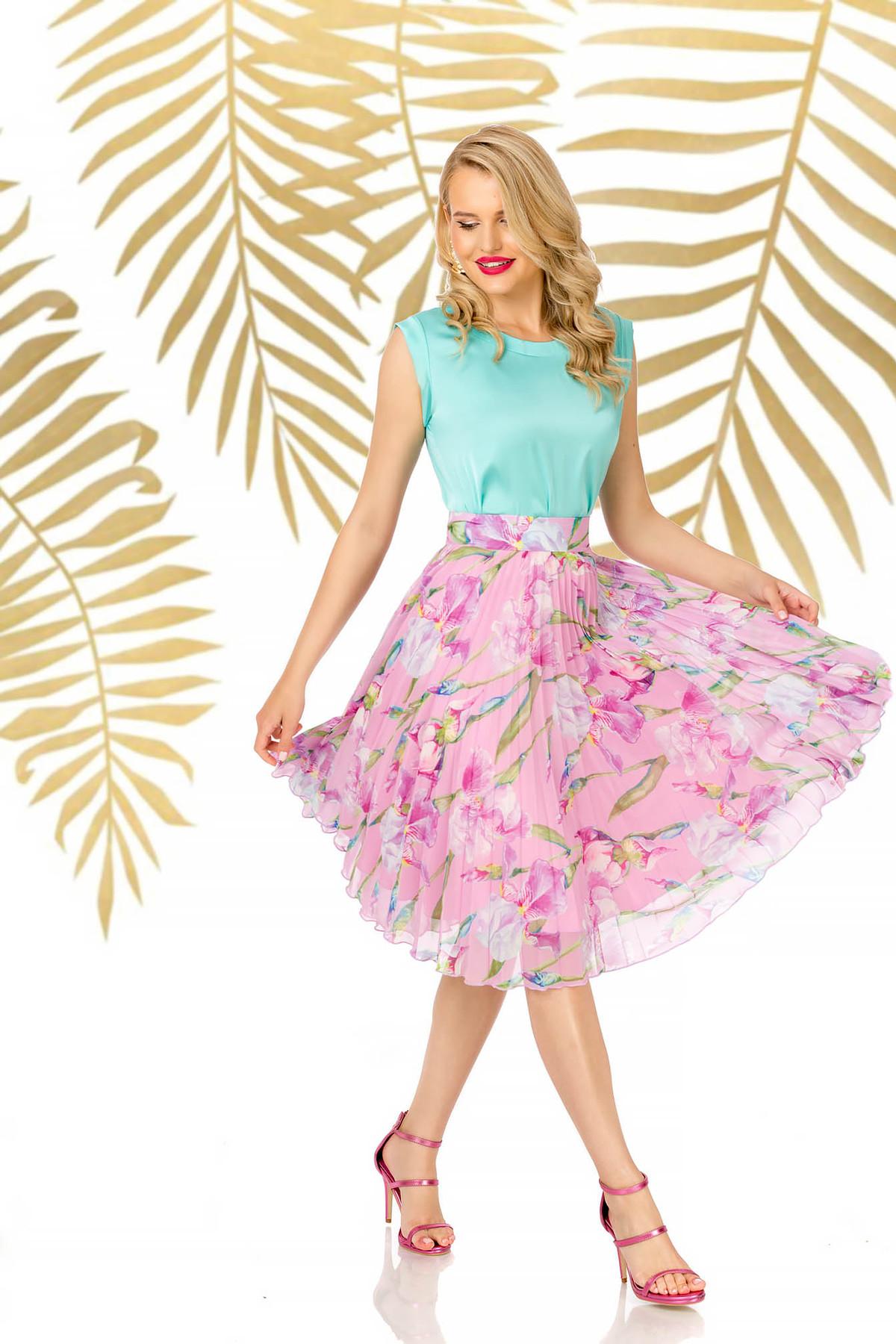 Fusta PrettyGirl roz deschis eleganta midi croi in clos cu talie inalta din voal imagine