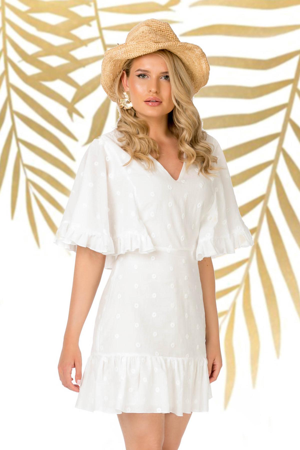 Rochie PrettyGirl alba de zi scurta cu croi in a cu maneci tip fluture cu volanase la baza rochiei din bumbac