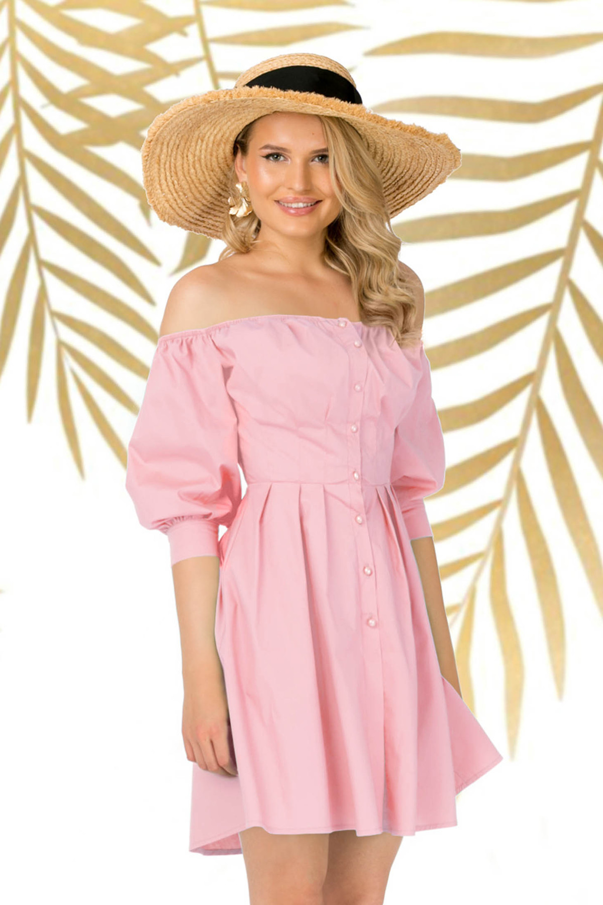 Rochie PrettyGirl roz prafuit de zi asimetrica in clos din bumbac usor elastic umeri goi