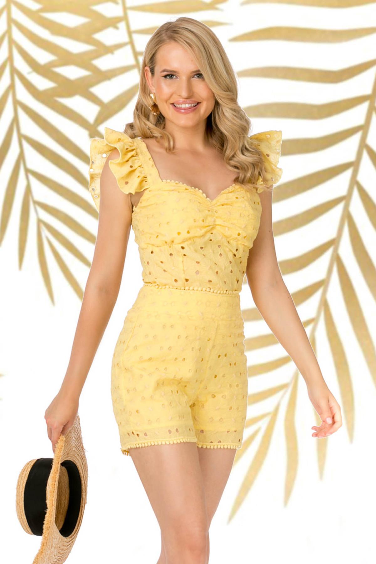 Top PrettyGirl galben casual mulat din bumbac neelastic cu decolteu adanc cu volanase la maneca