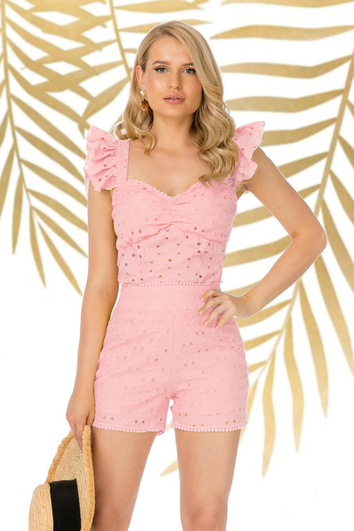 Top PrettyGirl roz prafuit casual mulat din bumbac neelastic cu decolteu adanc cu volanase la maneca imagine
