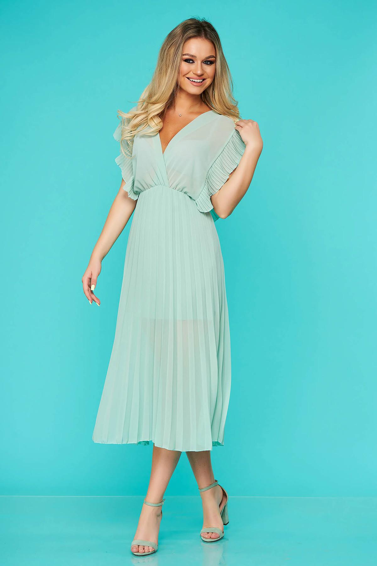 Rochie StarShinerS mint eleganta midi plisata cu decolteu in v din voal cu elastic in talie