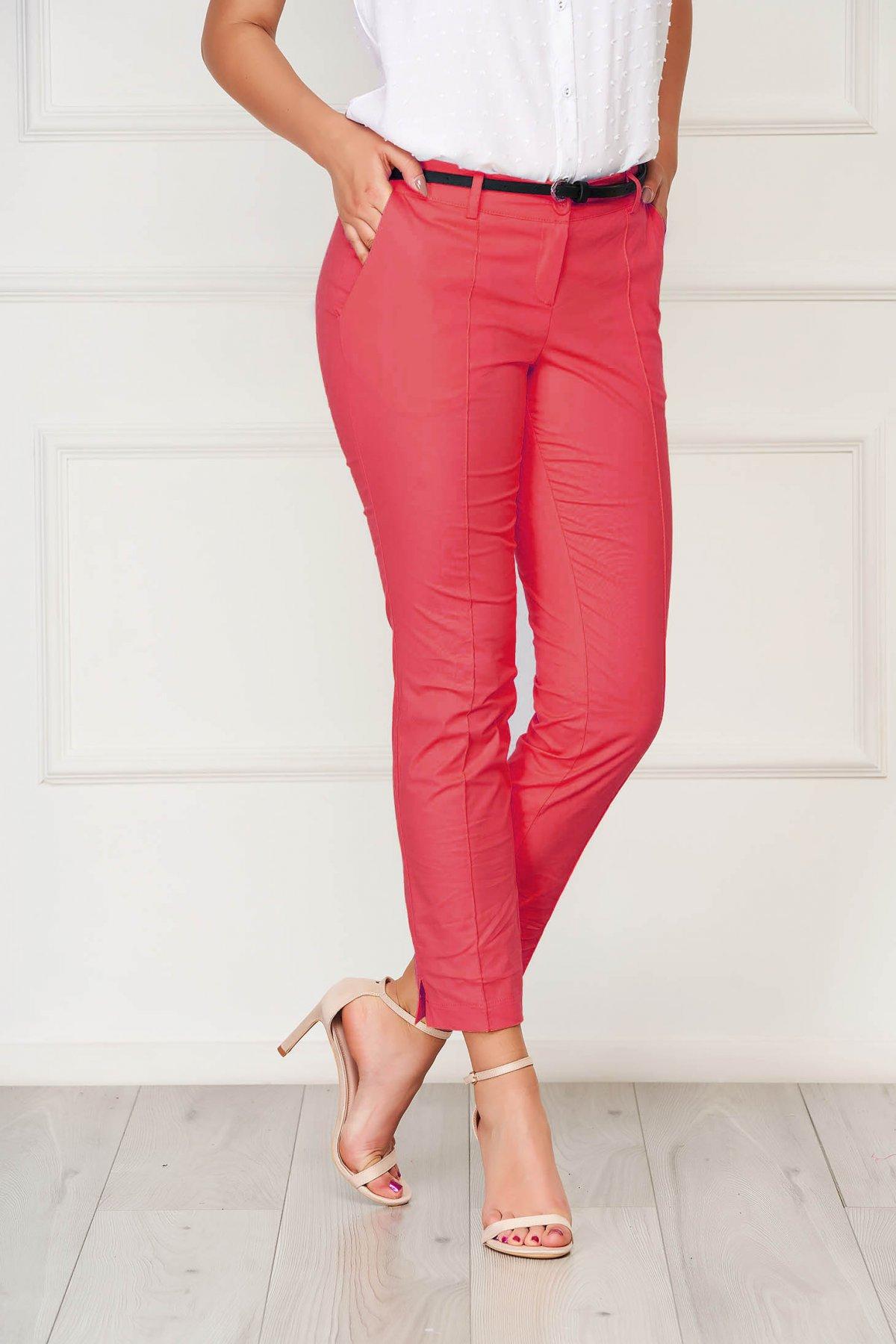 Pantaloni Artista roz office conici din bumbac cu buzunare imagine