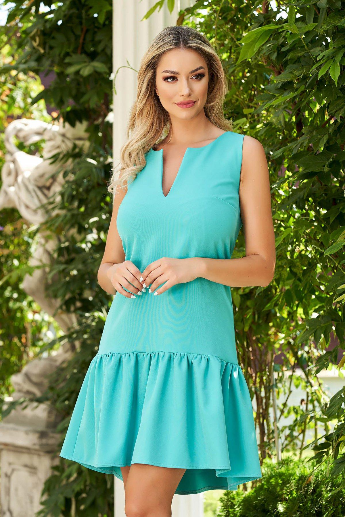 Rochie StarShinerS verde de zi din stofa cu croi larg cu volanase la baza rochiei
