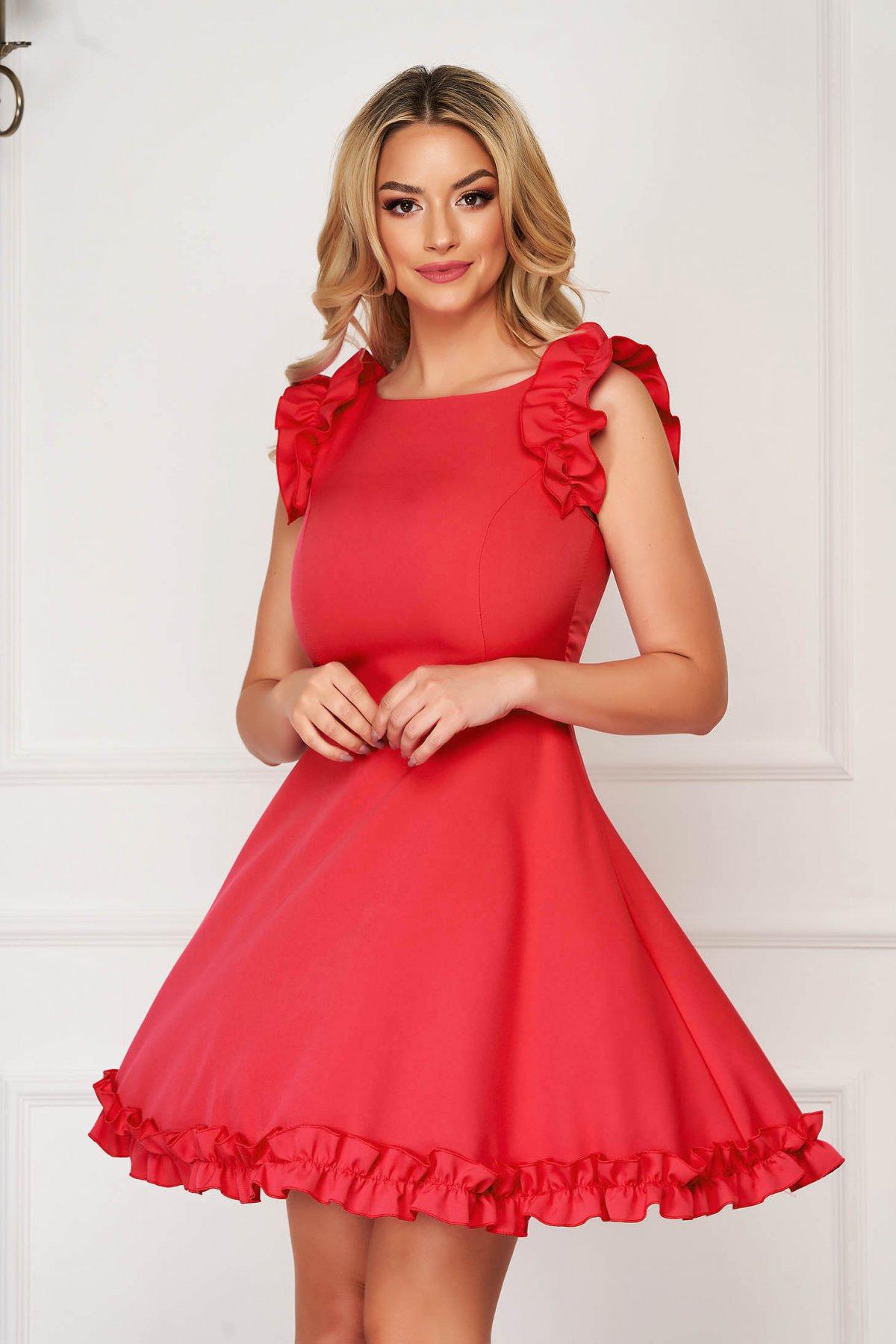 Rochie rosie eleganta scurta din stofa cu volanase la maneca StarShinerS
