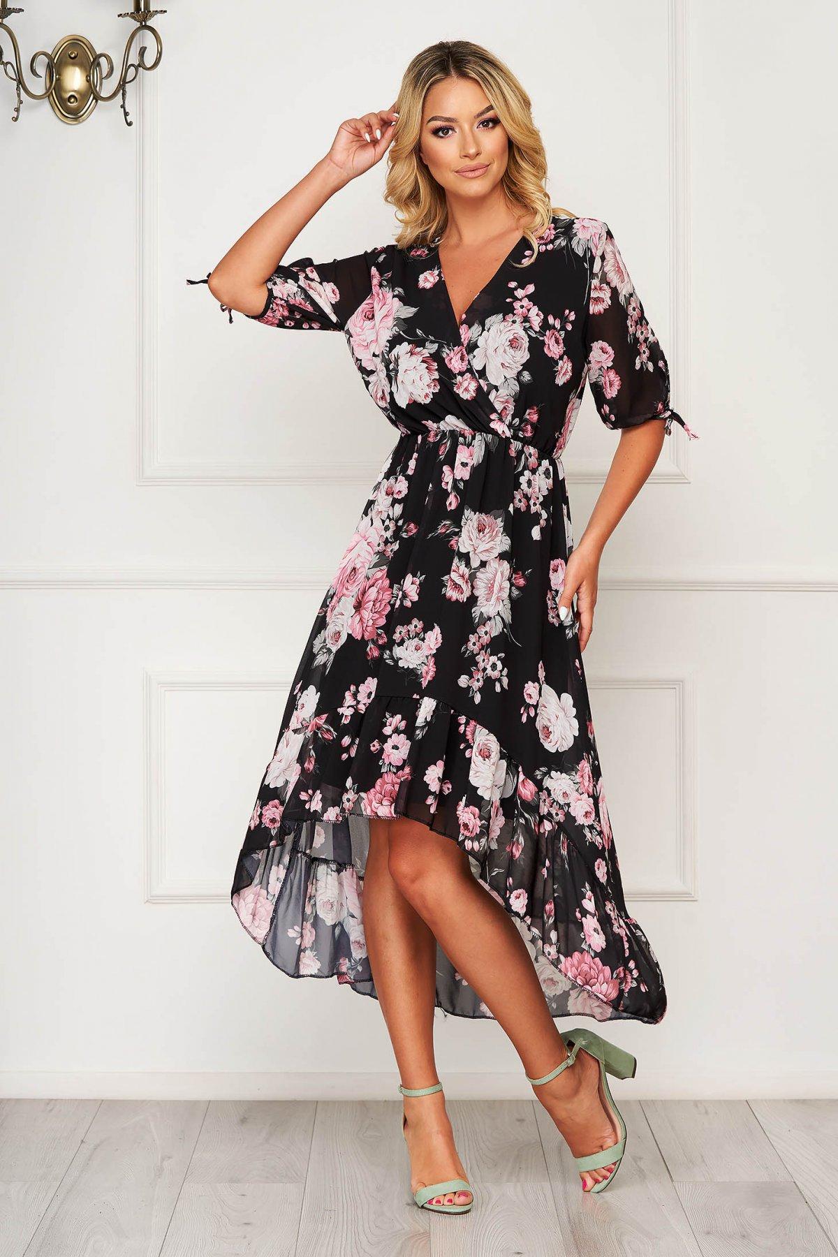 Rochie neagra eleganta asimetrica cu maneca 3/4 din voal cu imprimeu floral