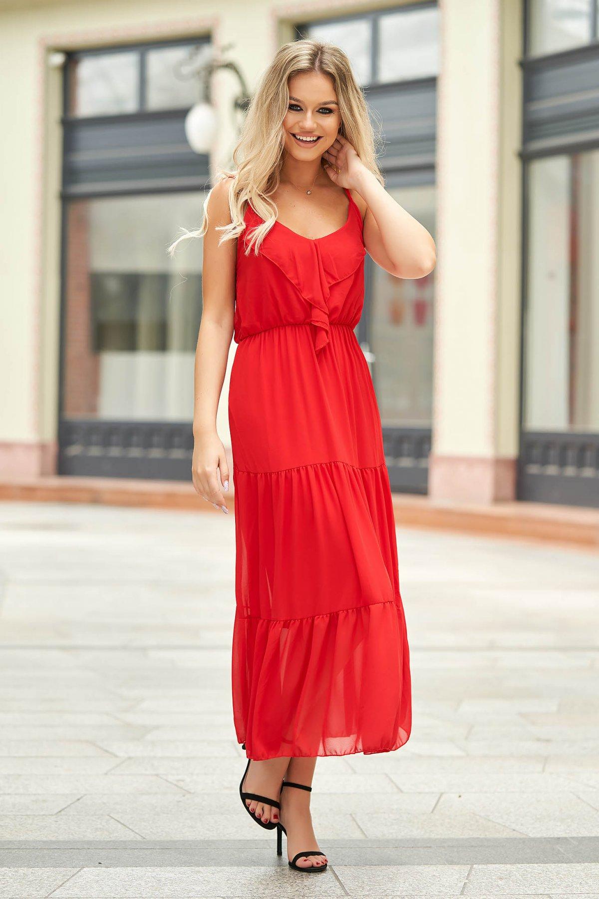 Rochie rosie lunga de zi din voal fara maneci cu volanase SunShine
