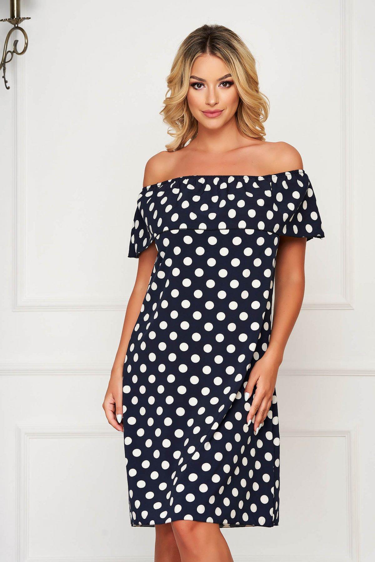 Rochie albastru-inchis SunShine scurta de zi din material subtire cu croi larg si umeri goi