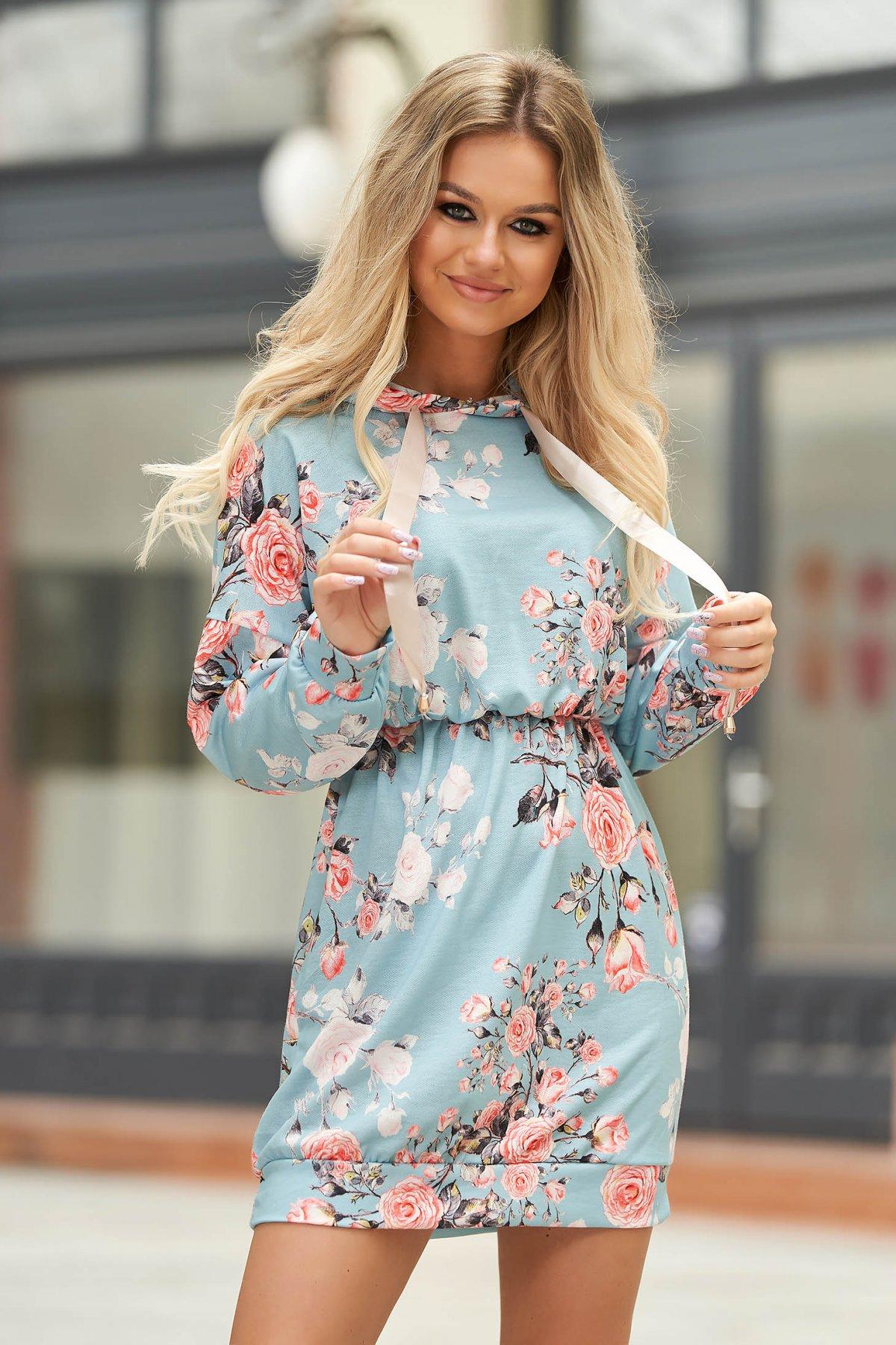 Rochie albastru-deschis casual scurta cu elastic in talie si gluga SunShine