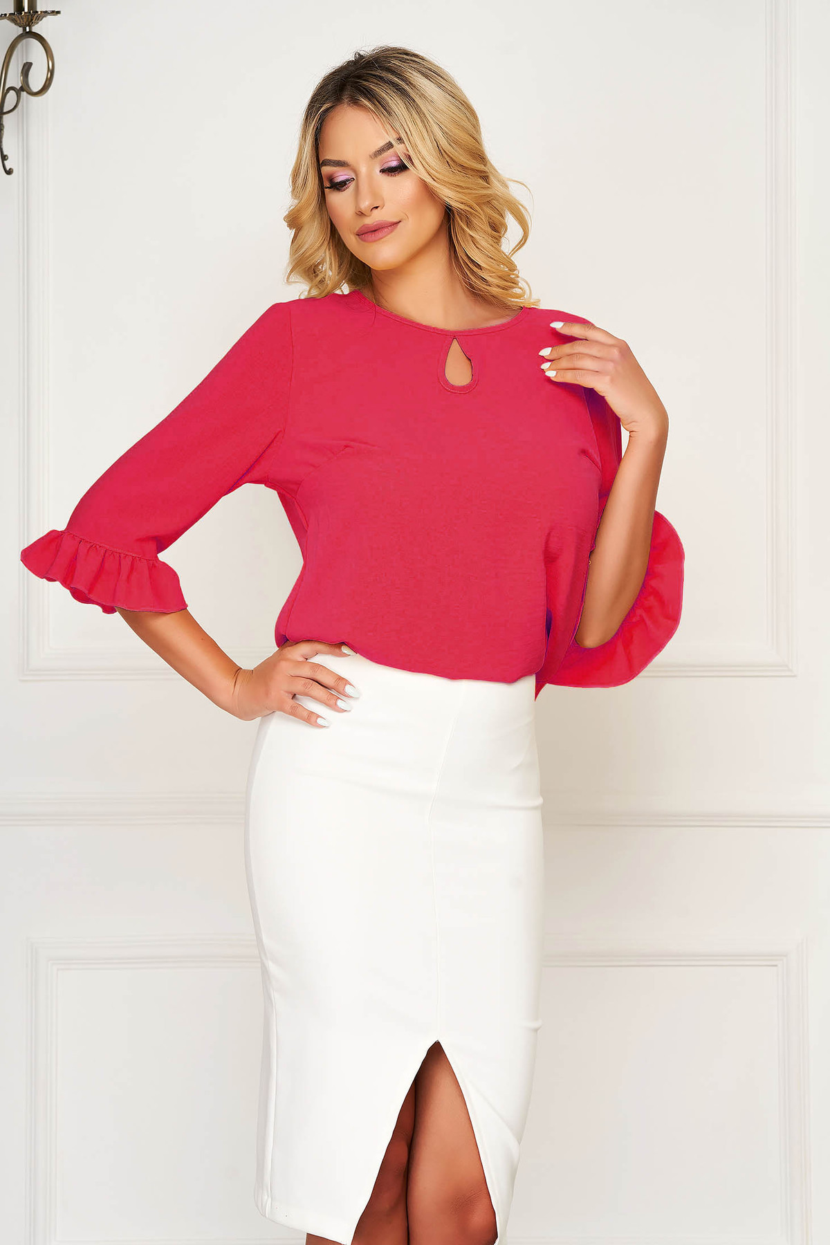 Bluza dama StarShinerS roz office cu croi larg cu volanase