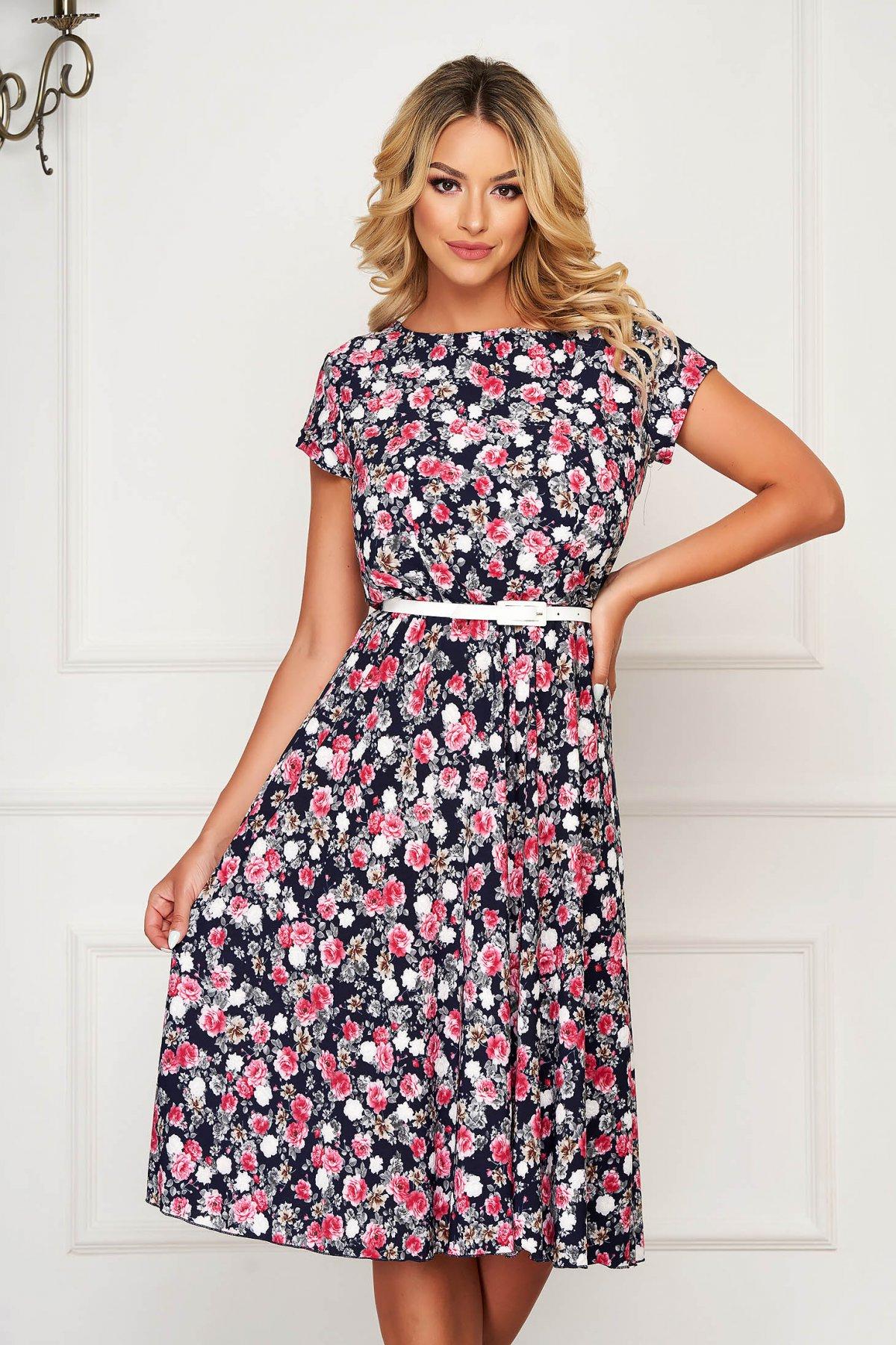 Rochie roz de zi midi cu maneca scurta din material subtire cu imprimeu floral cu accesoriu tip curea