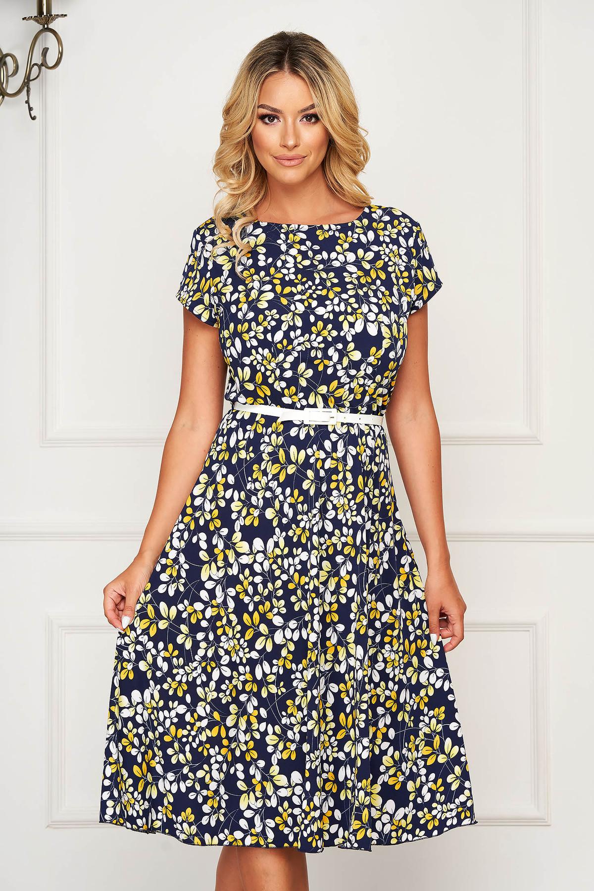 Rochie albastru-inchis midi de zi din material elastic in clos cu elastic in talie
