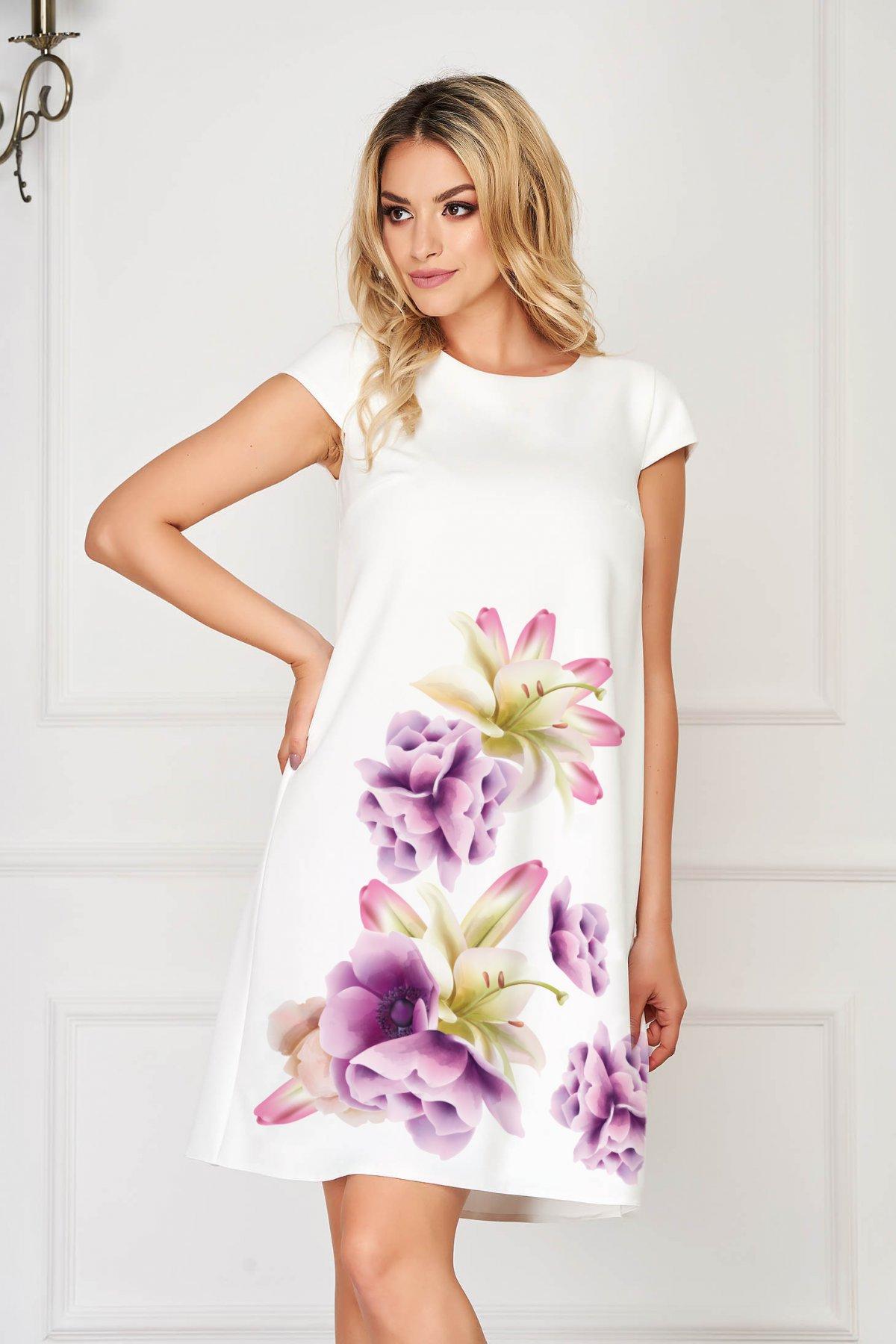 Rochie StarShinerS lila eleganta scurta din stofa din material usor elastic cu imprimeu floral
