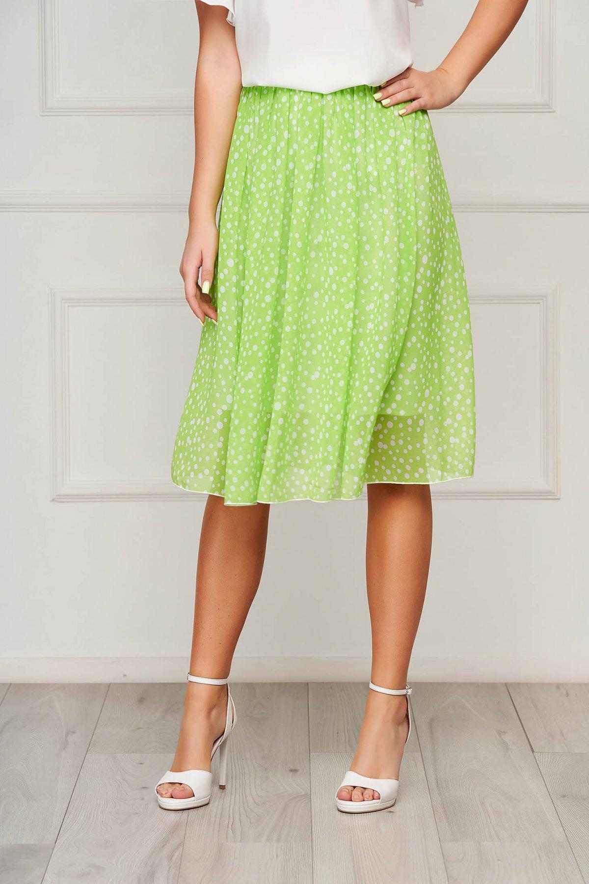 Fusta StarShinerS verde eleganta midi in clos cu elastic in talie din voal