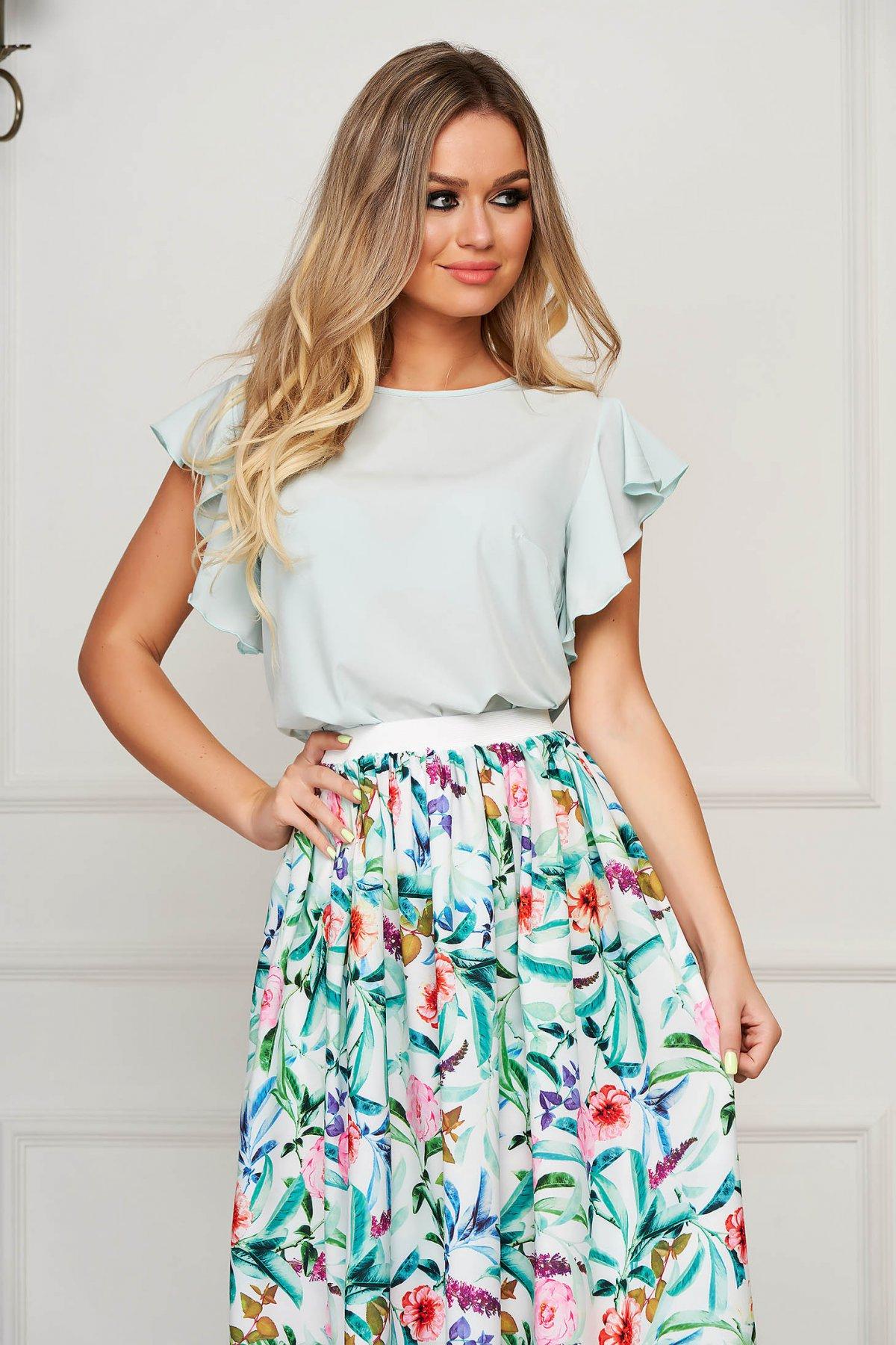Bluza dama StarShinerS mint eleganta cu croi larg cu volanase
