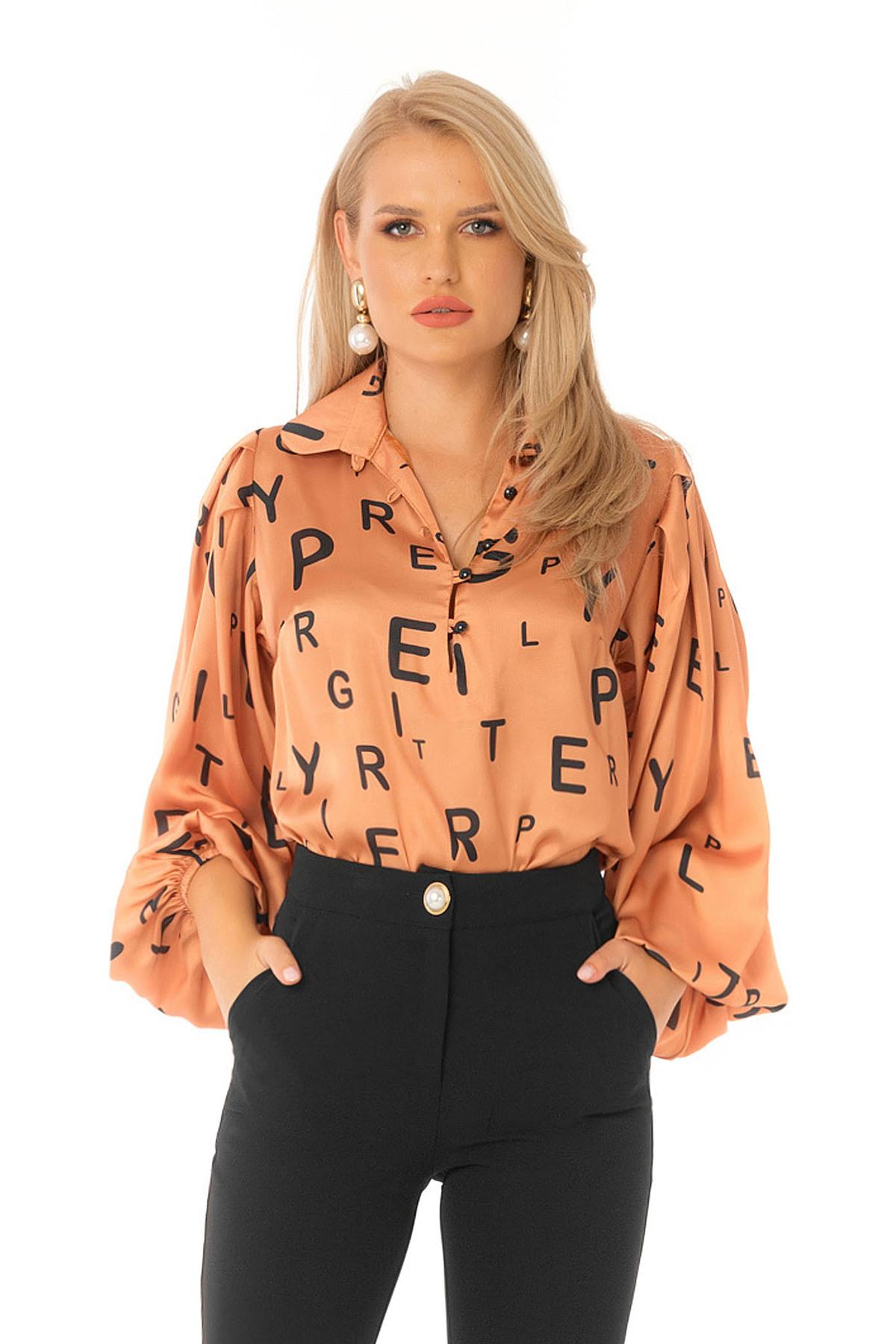 Bluza dama PrettyGirl portocalie eleganta cu croi larg cu maneci bufante din material satinat