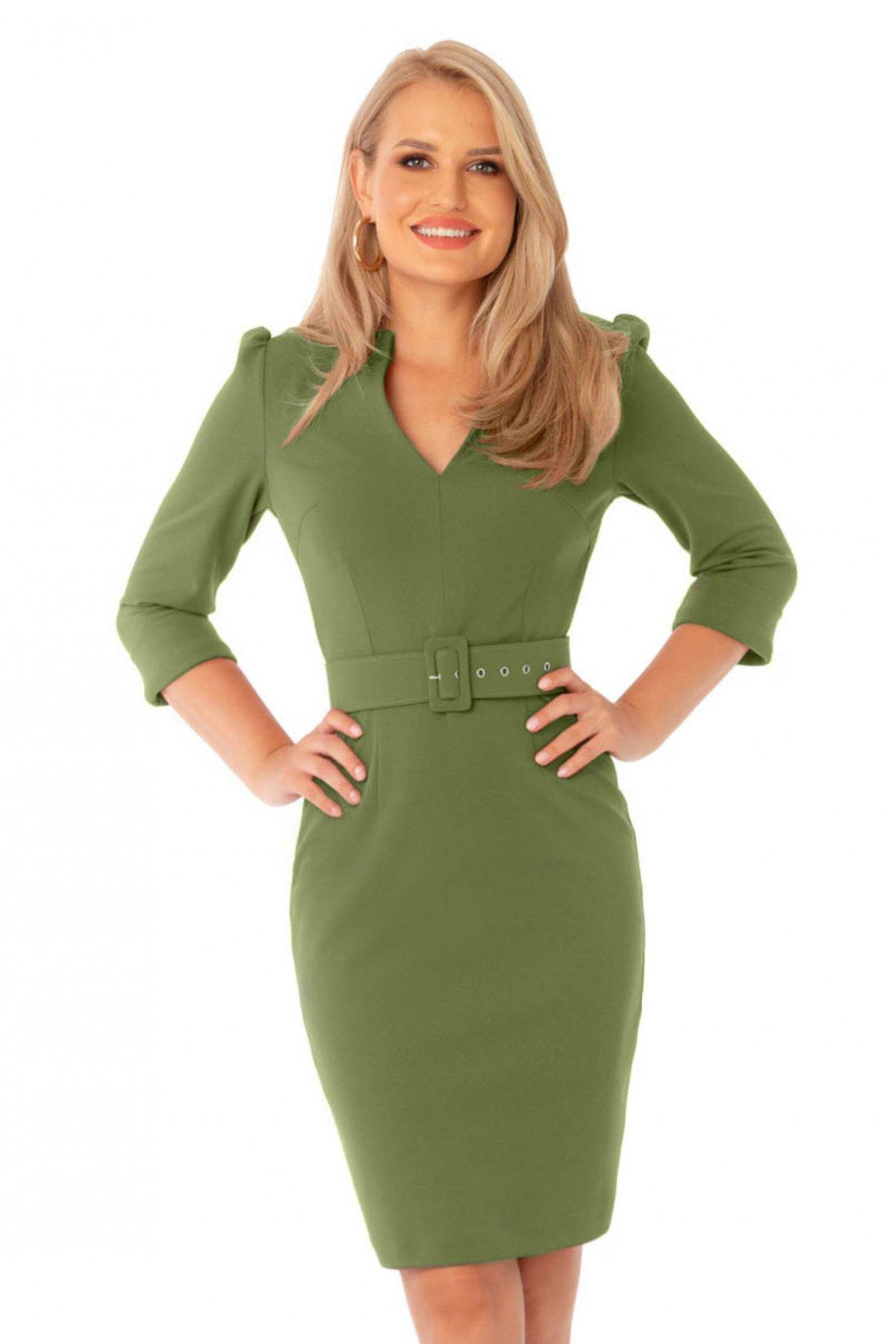 Rochie PrettyGirl verde office midi tip creion cu decolteu in v cu accesoriu tip curea PrettyGirl