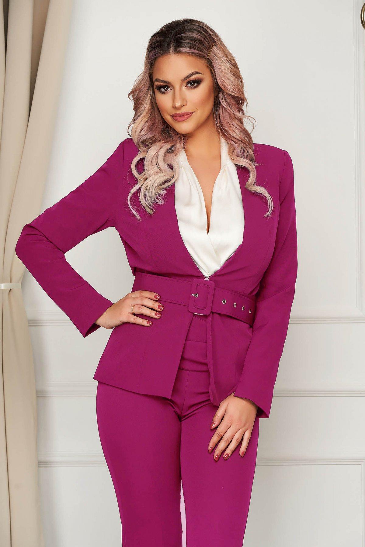 Sacou PrettyGirl fuchsia clasic tip blazer cambrat din stofa usor elastica cu accesoriu tip curea