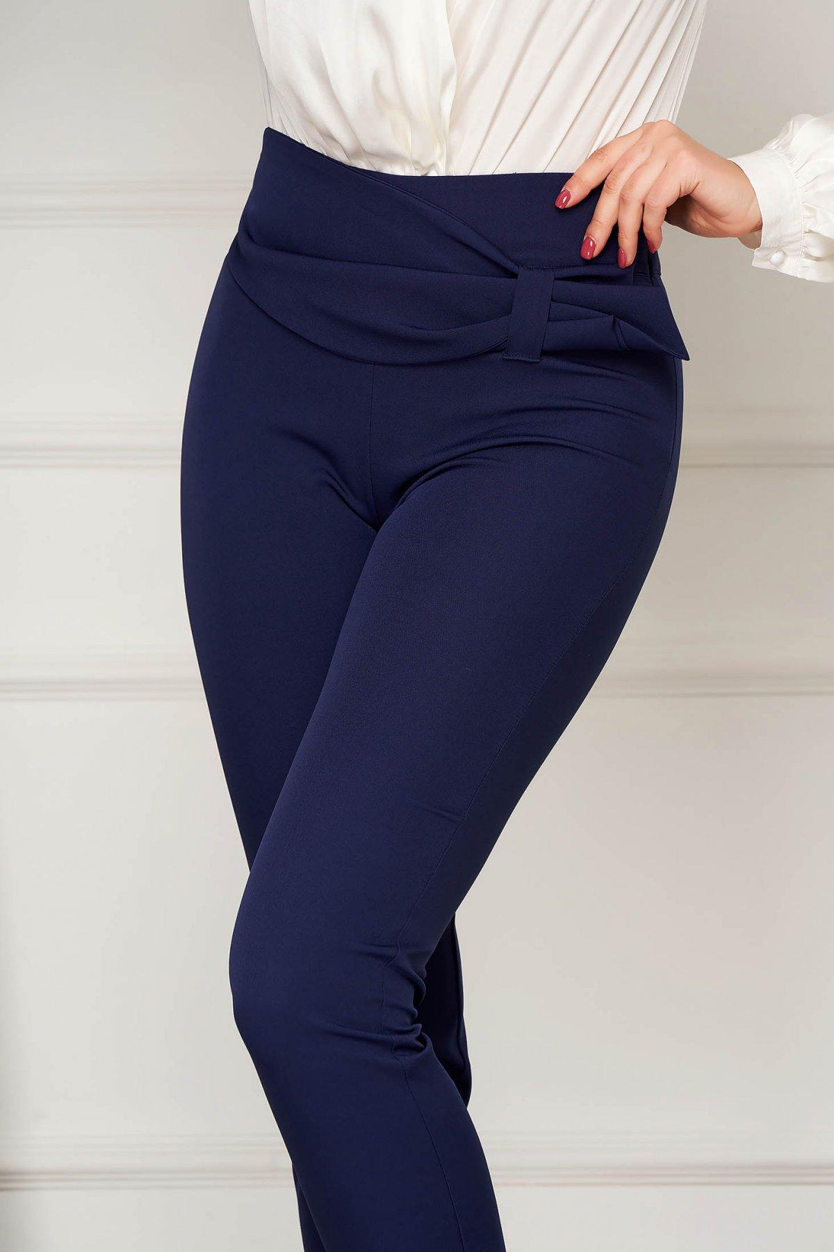 Pantaloni PrettyGirl albastru-inchis eleganti conici cu un croi mulat cu talie inalta din stofa usor elastica imagine