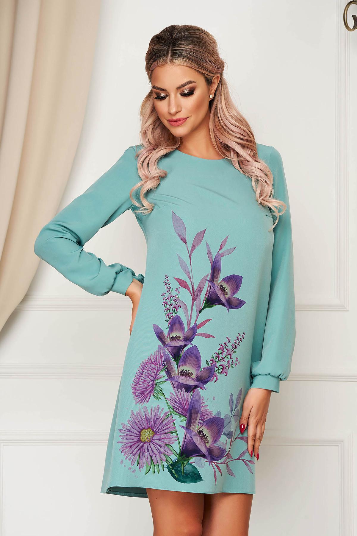 Rochie StarShinerS turcoaz scurta eleganta din stofa cu imprimeu floral