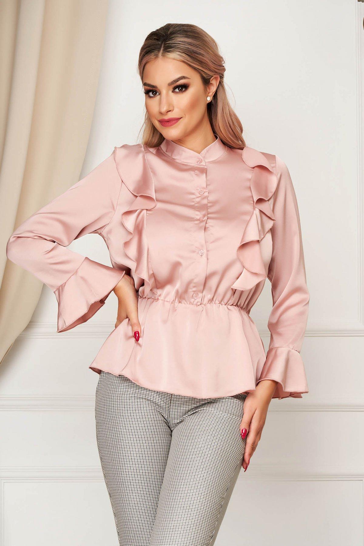 Camasa dama SunShine roz prafuit eleganta cu croi larg din material satinat cu elastic in talie cu volanase