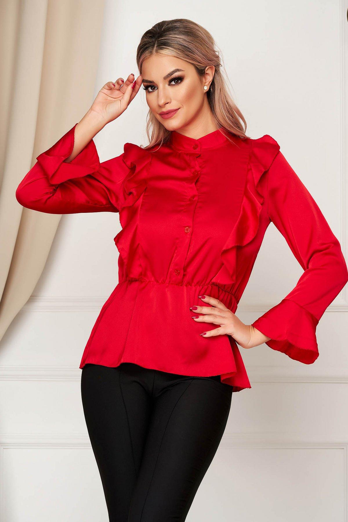Camasa dama SunShine rosie eleganta cu croi larg din material satinat cu elastic in talie cu volanase imagine