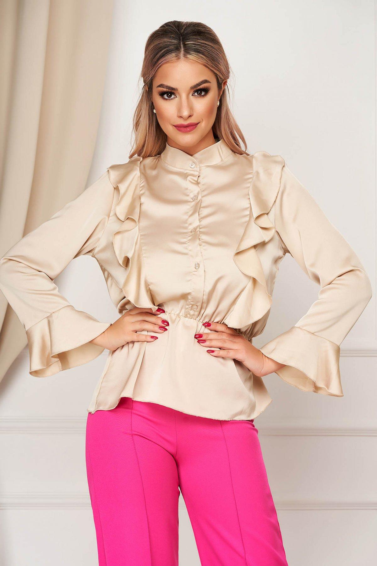 Camasa dama SunShine crem eleganta cu croi larg din material satinat cu elastic in talie cu volanase