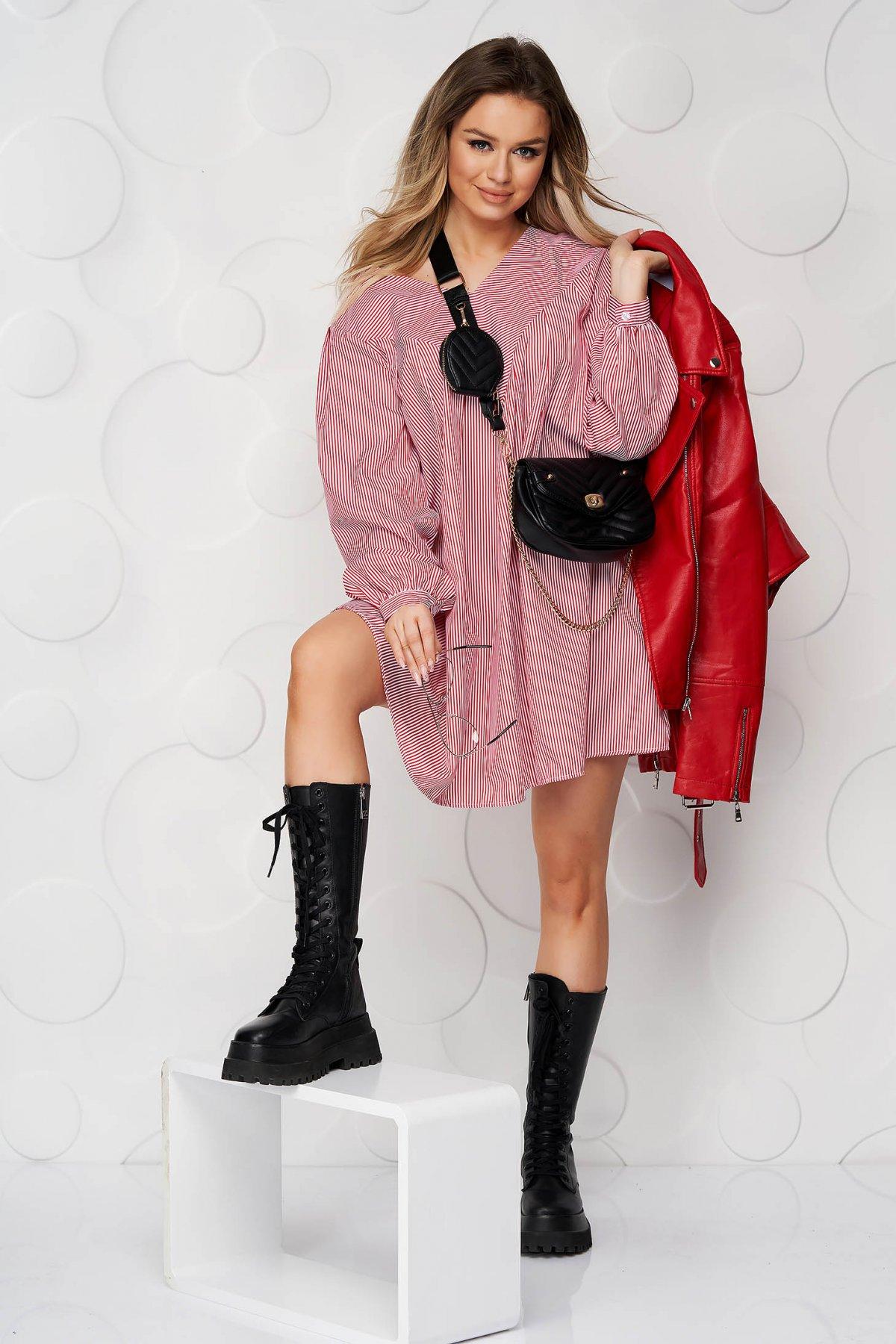 Rochie SunShine rosie de zi scurta cu croi larg cu decolteu in v din bumbac neelastic