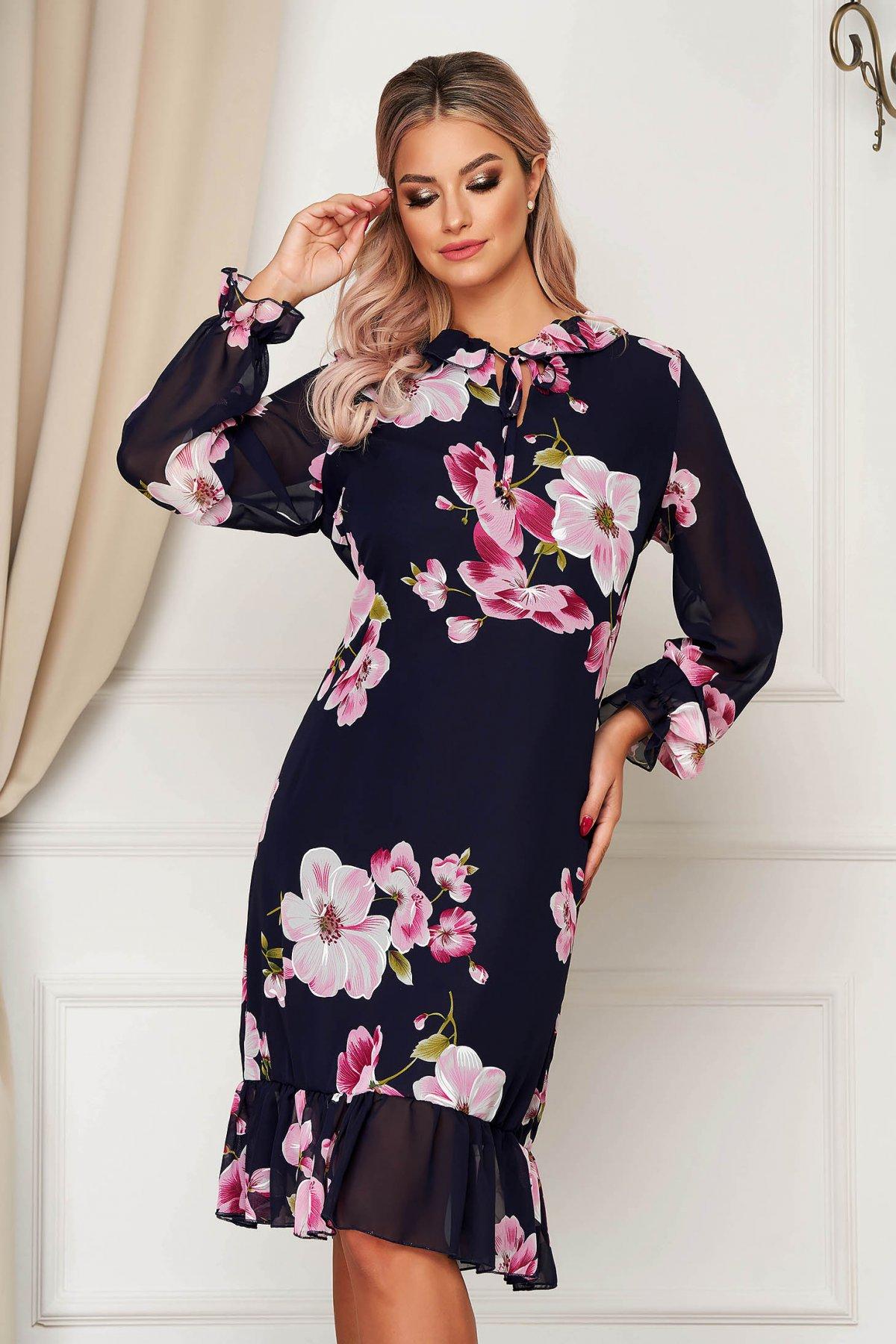 Rochie StarShinerS cu imprimeu floral eleganta din voal cu un croi drept cu volanase la baza rochiei