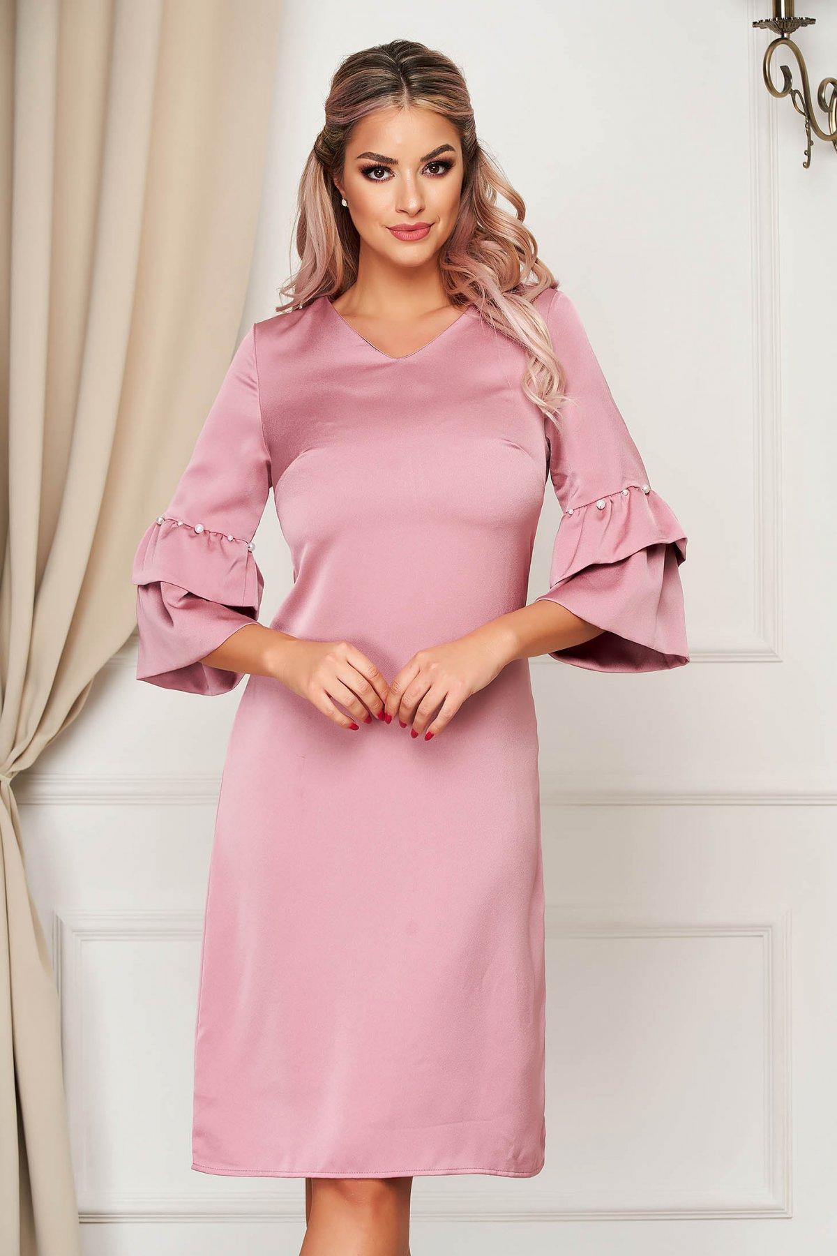 Rochie SunShine roz deschis eleganta cu croi in a cu maneci clopot cu aplicatii cu perle