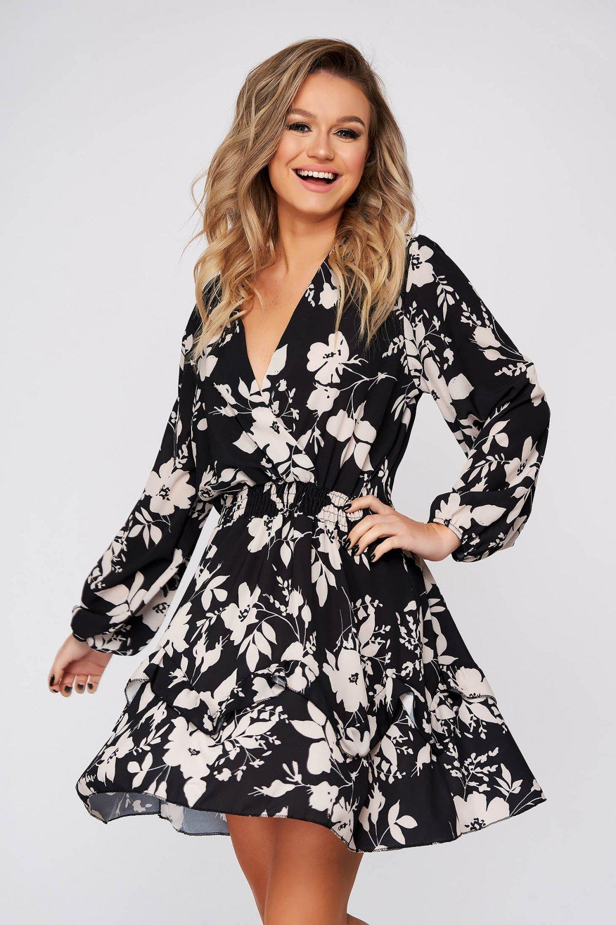 Rochie SunShine neagra de zi clos cu elastic in talie cu decolteu in v din voal cu imprimeuri florale