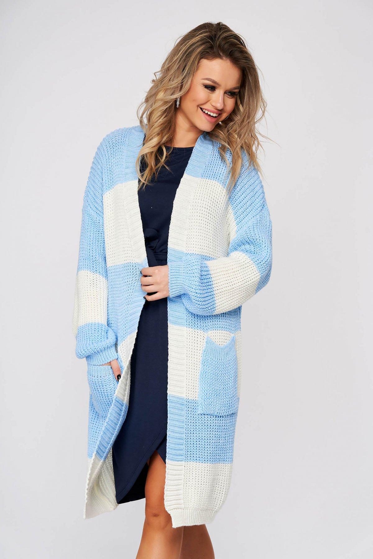 Cardigan SunShine albastru-deschis casual lunga cu croi larg din material tricotat imagine