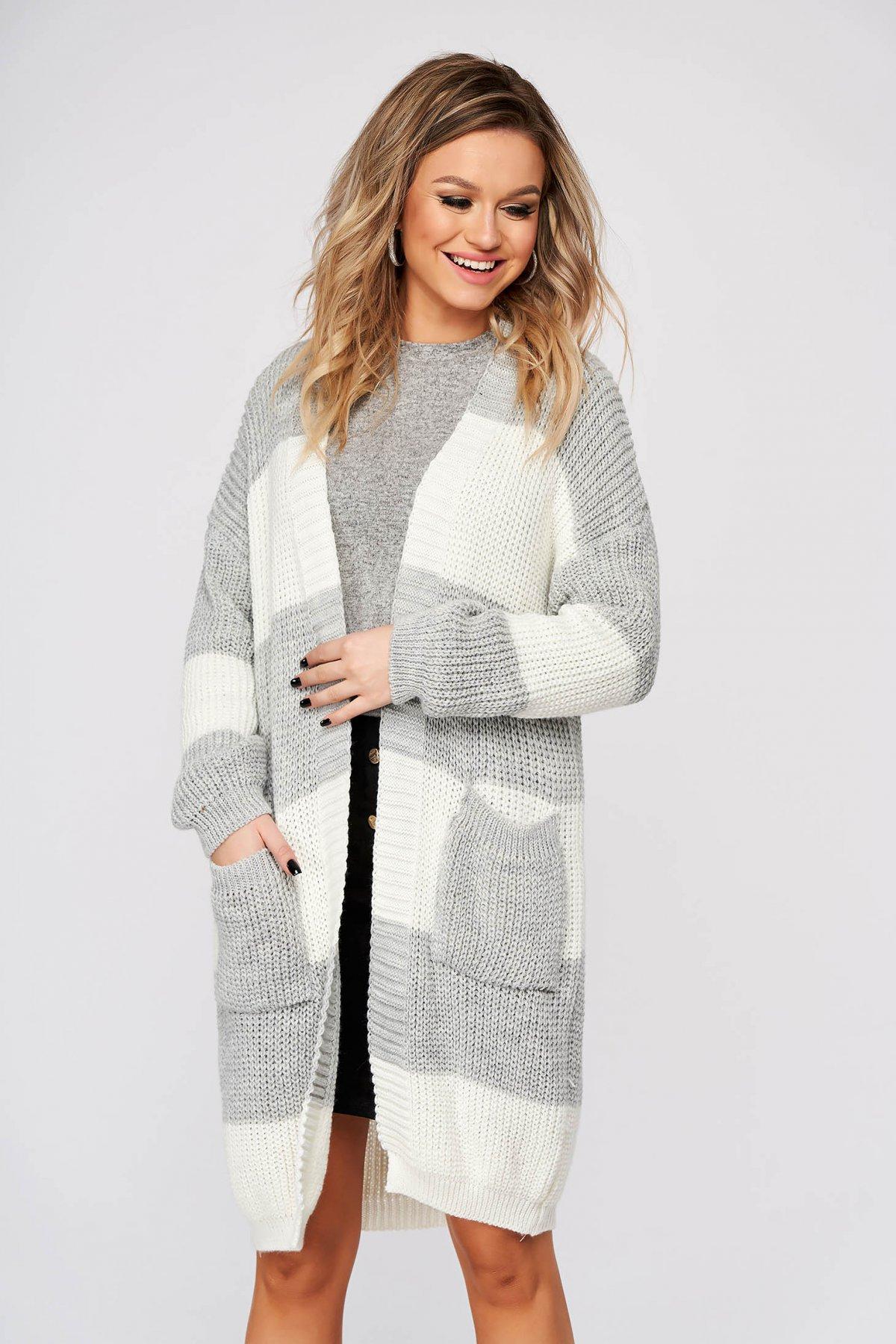 Cardigan SunShine gri casual lunga cu croi larg din material tricotat imagine
