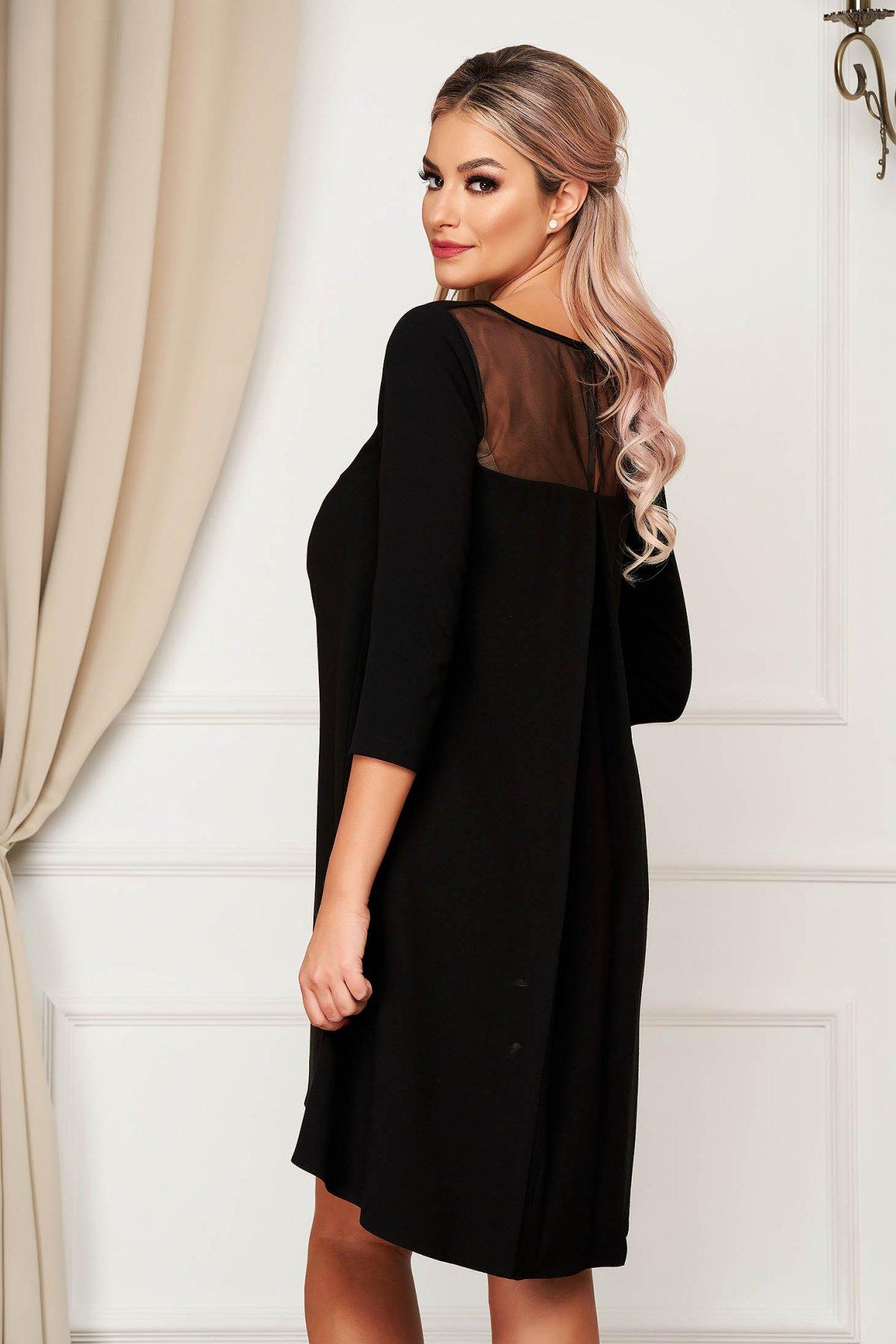 Rochie StarShinerS neagra eleganta cu croi larg cu maneca 3/4 din stofa neelastica