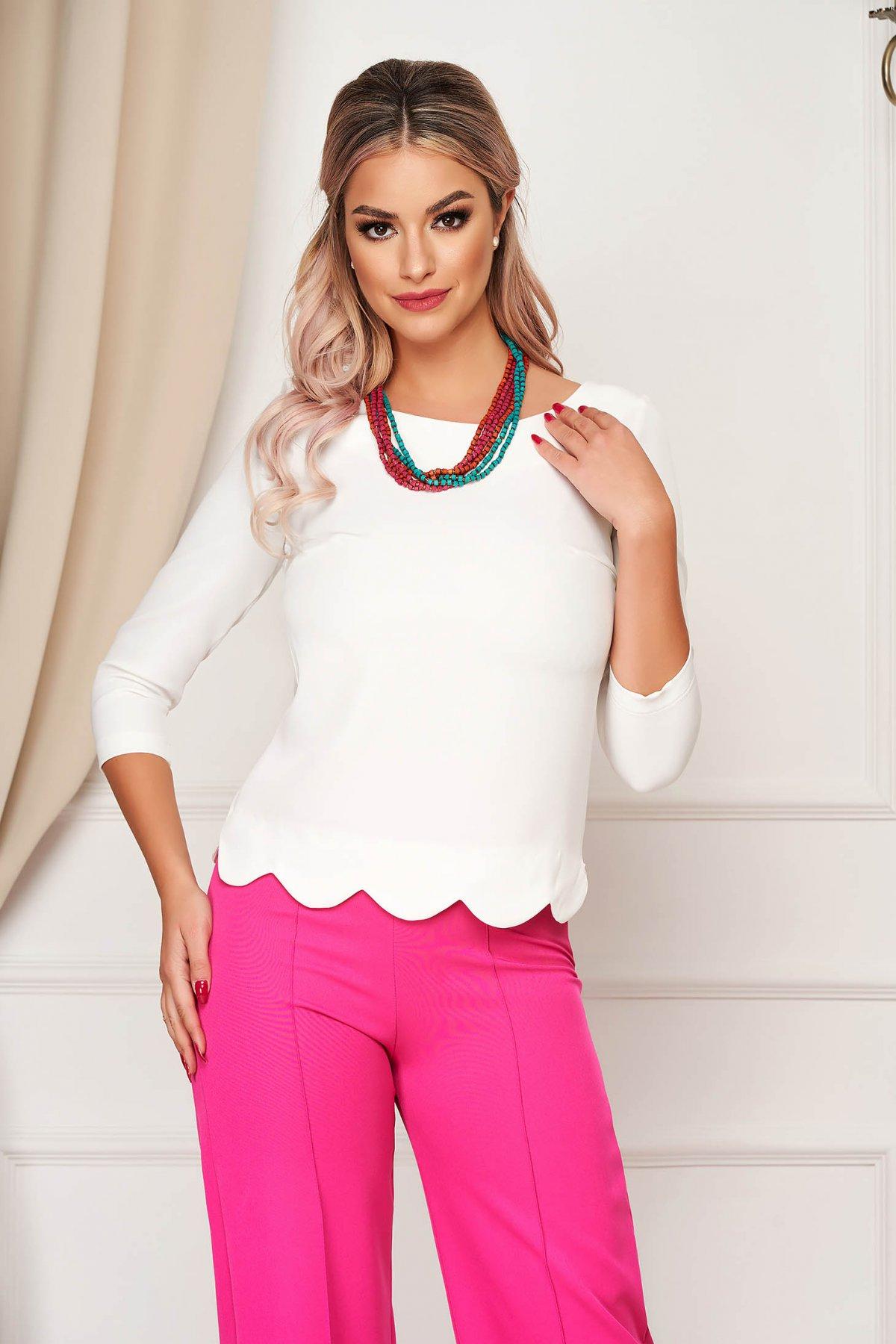 Bluza dama StarShinerS alba office scurta mulata din material elastic cu maneci trei-sferturi