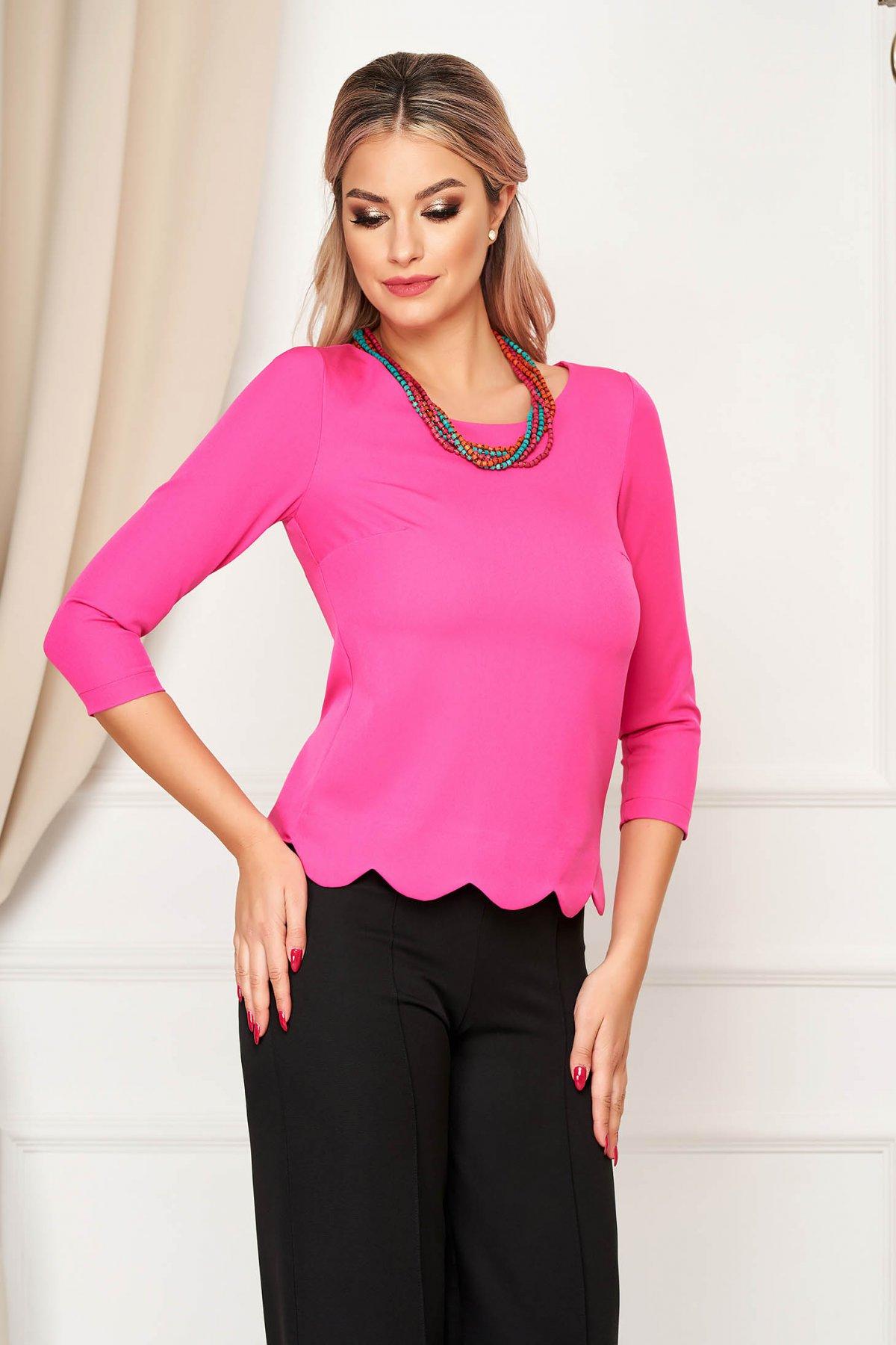 Bluza dama StarShinerS roz office scurta mulata din material elastic cu maneci trei-sferturi