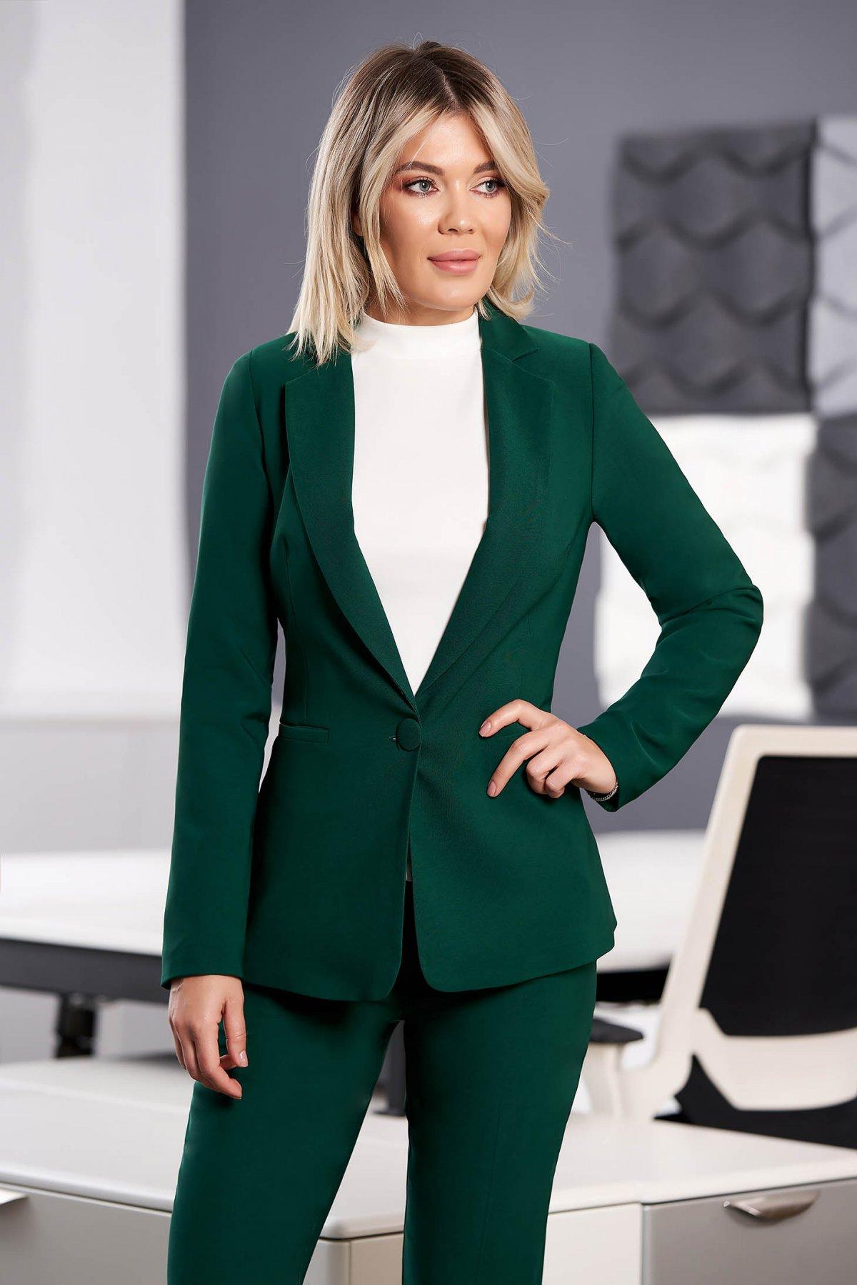 Sacou verde-inchis office cu un croi cambrat din stofa usor elastica
