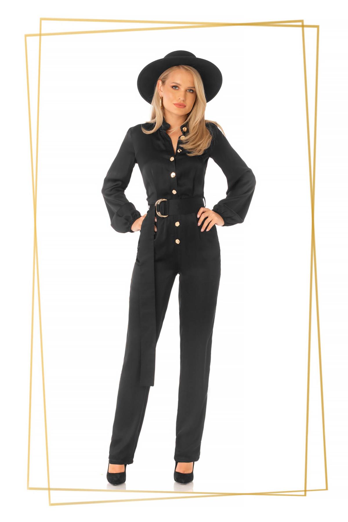 Salopeta PrettyGirl neagra eleganta din satin cu croi larg accesorizata cu cordon