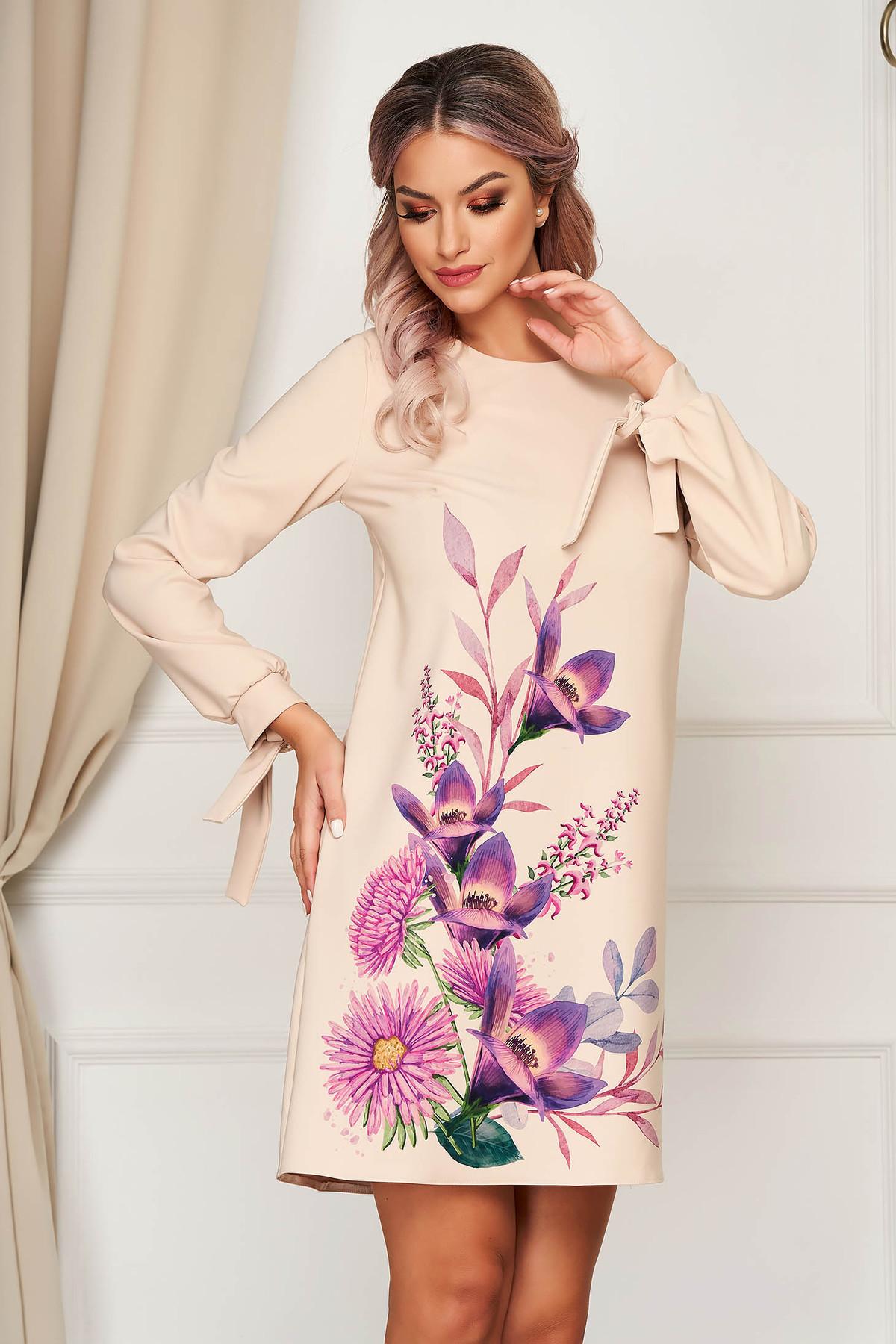 Rochie StarShinerS crem scurta eleganta din stofa cu imprimeu floral