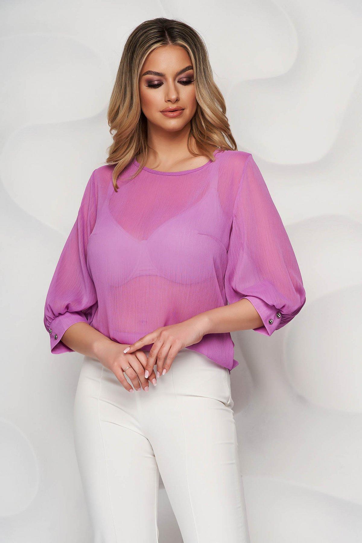 Bluza dama StarShinerS mov eleganta din voal cu croi larg si maneci trei-sferturi