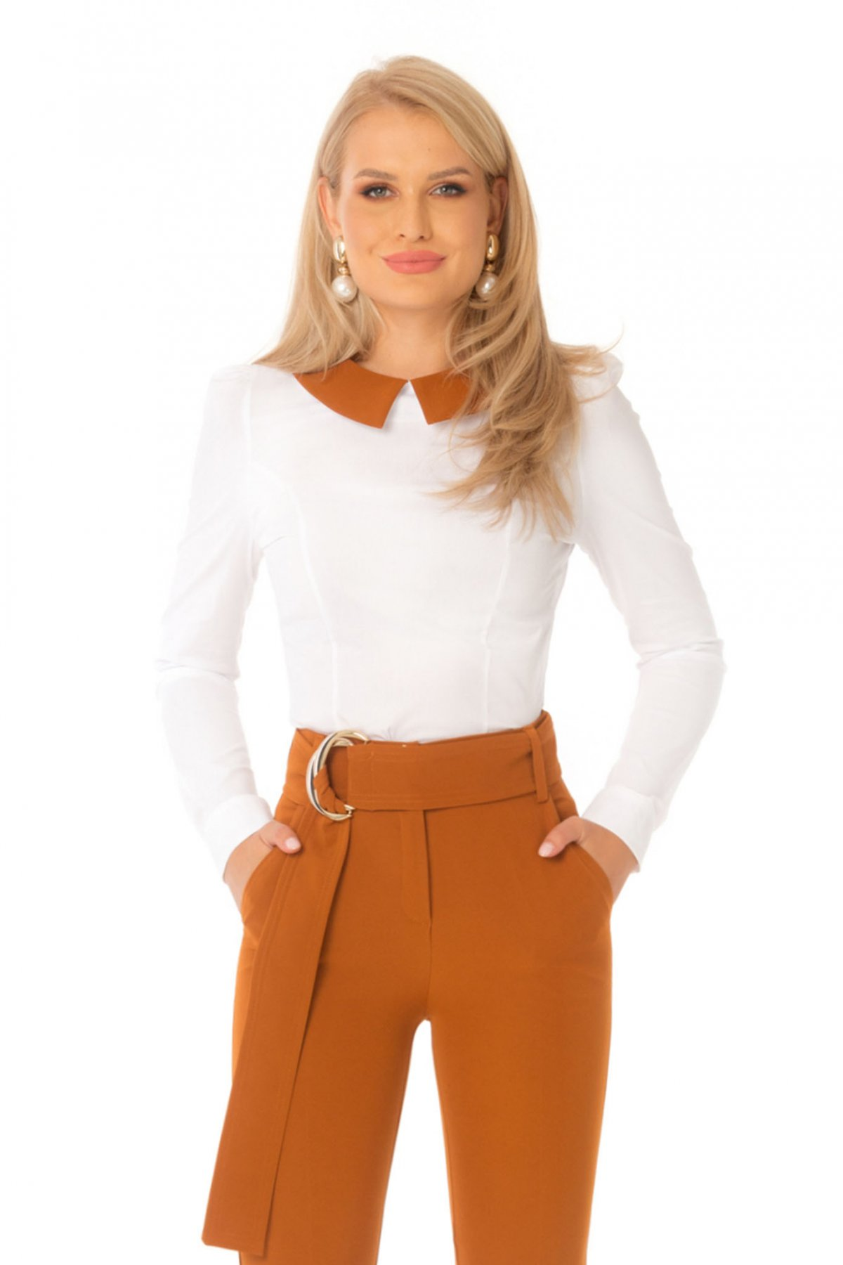 Camasa dama PrettyGirl caramizie office mulata cu maneca lunga din bumbac usor elastic imagine