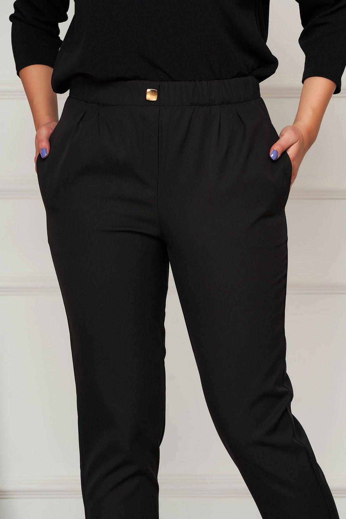 Pantaloni PrettyGirl negri office conici cu talie medie din stofa usor elastica imagine