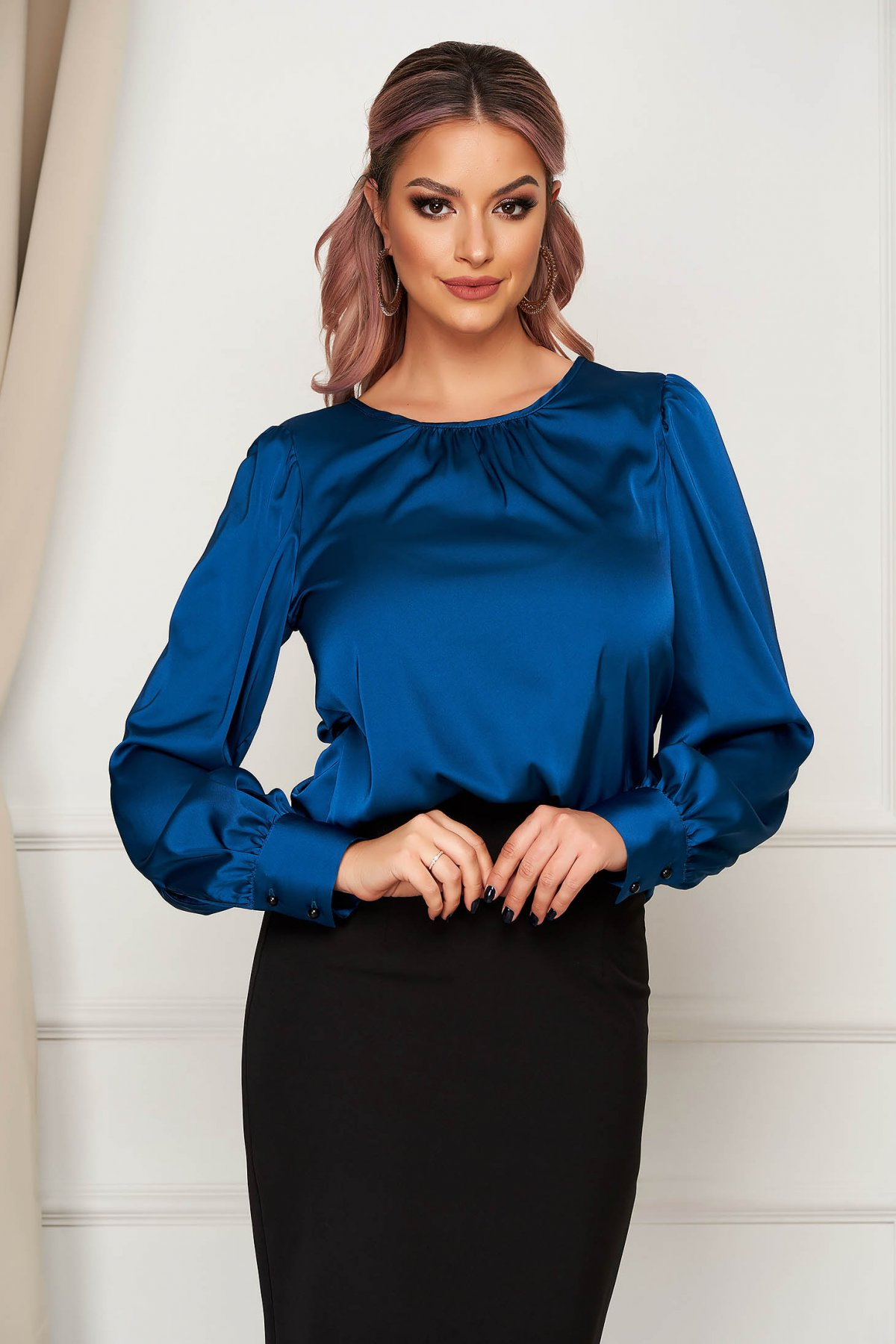 Bluza dama Artista verde petrol office cu croi larg din material satinat
