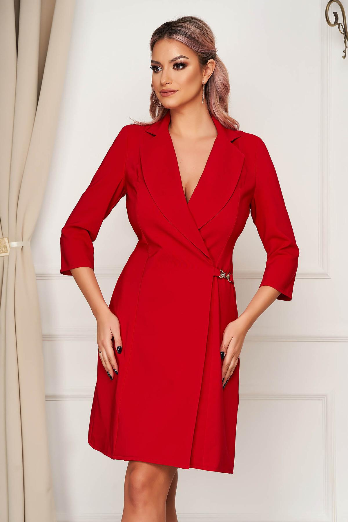 Rochie Artista rosie cu croi in a eleganta scurta petrecuta din stofa material subtire Artista