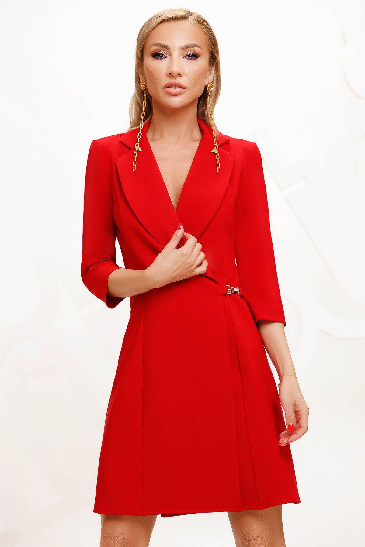Rochie Artista rosie cu croi in a eleganta scurta petrecuta din stofa material subtire