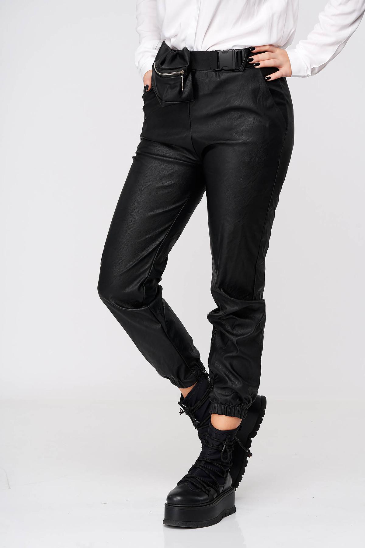 Pantaloni SunShine din piele ecologica negri casual cu talie inalta imagine