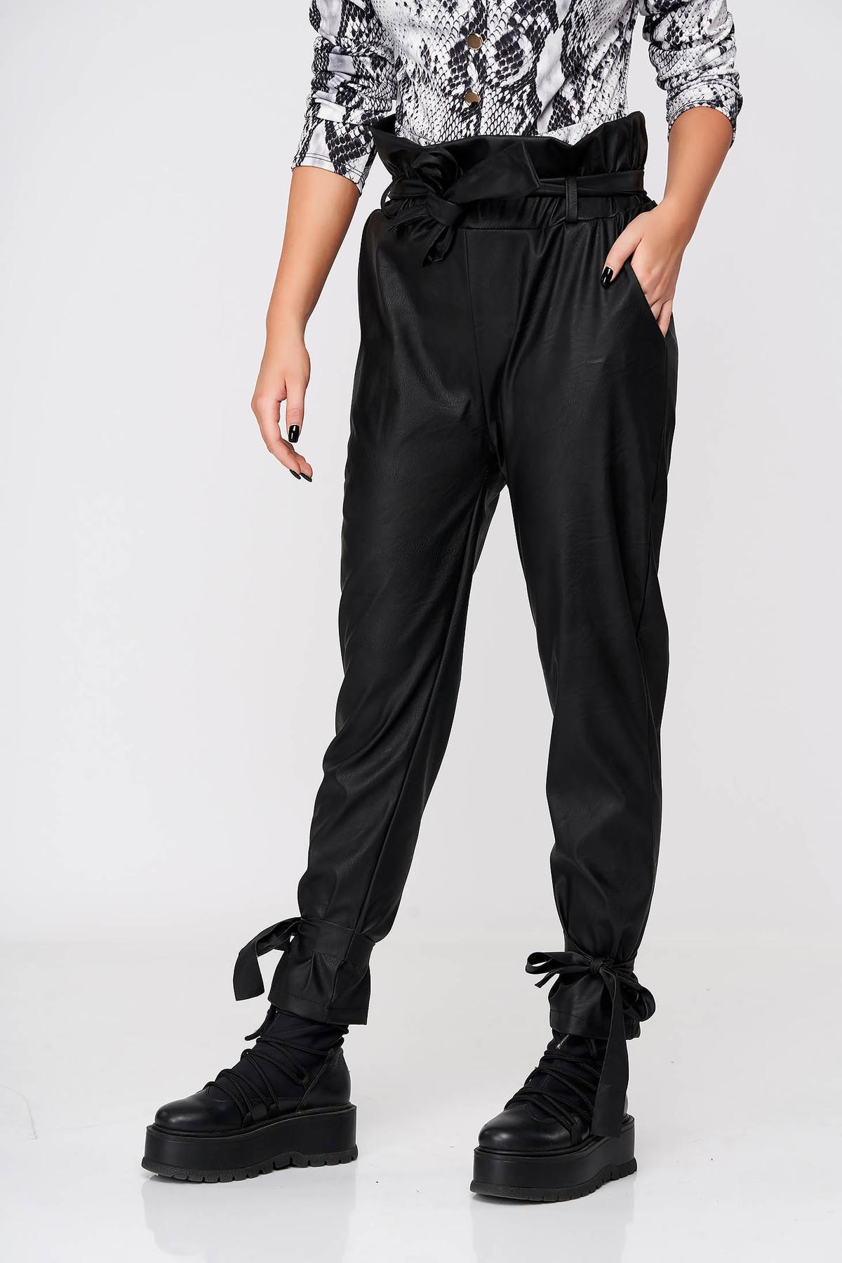 Pantaloni SunShine negri casual conici din piele ecologica cu elastic in talie