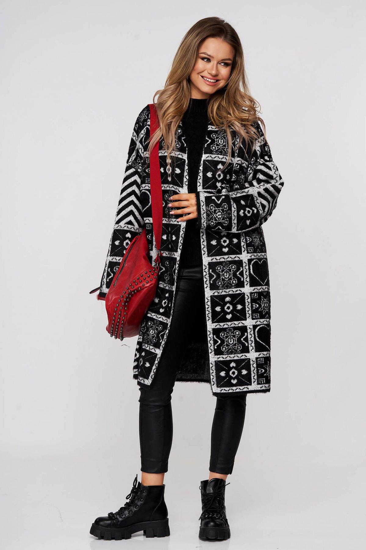 Cardigan SunShine negru elegant lung din lana cu croi larg