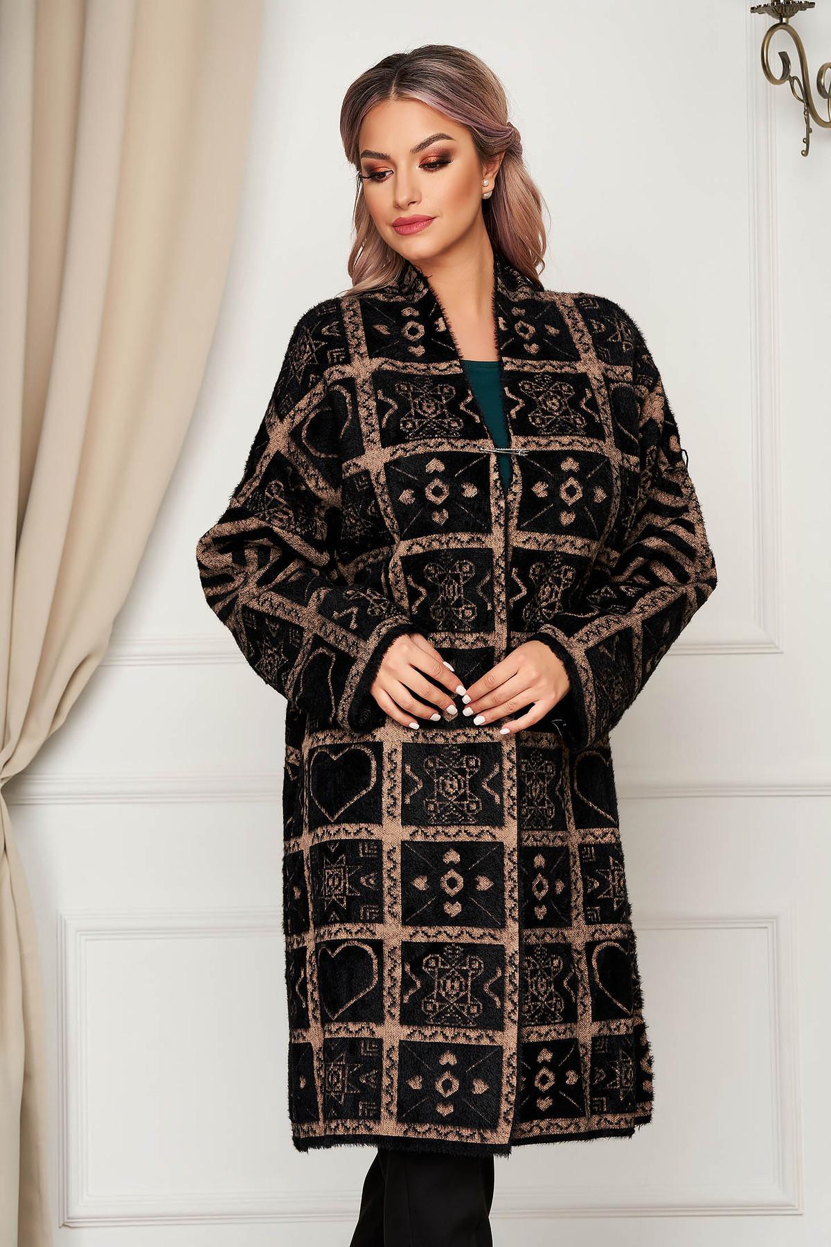 Cardigan SunShine maro elegant lung din lana si angora cu croi larg imagine